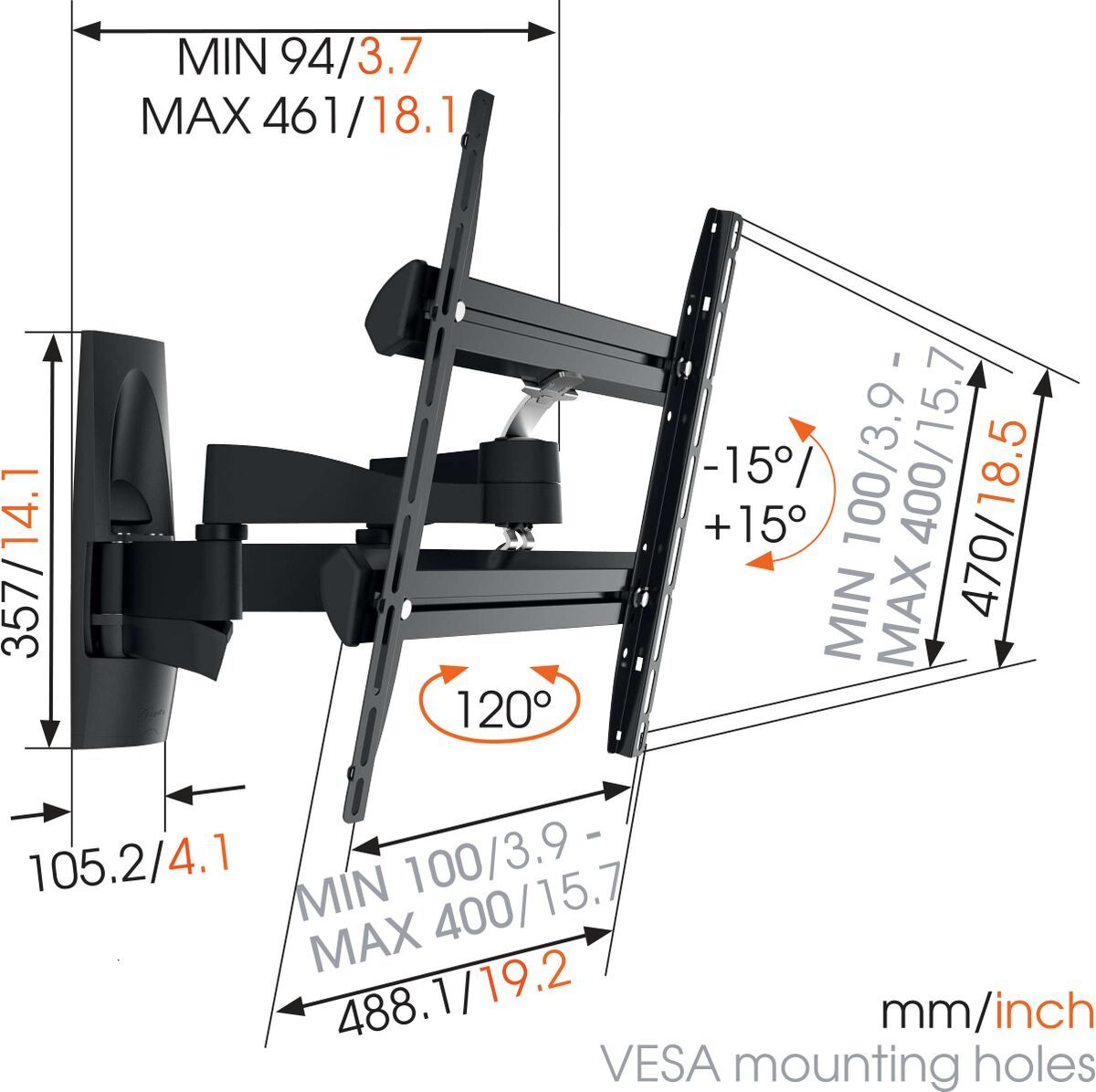 Vogel's WALL 2250 Full-Motion TV Wall Mount - Suitable for 32 up to 55 inch TVs - Forward and turning motion (up to 120°) - Tilt up to 15° - Dimensions