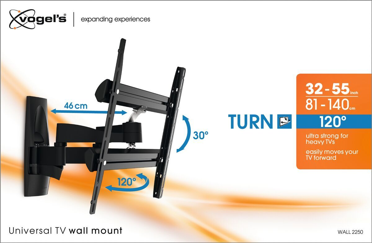 Vogel's WALL 2250 Full-Motion TV Wall Mount - Suitable for Forward and turning motion (up to 120°) - Suitable for Tilt up to 15° - Suitable for Packaging front