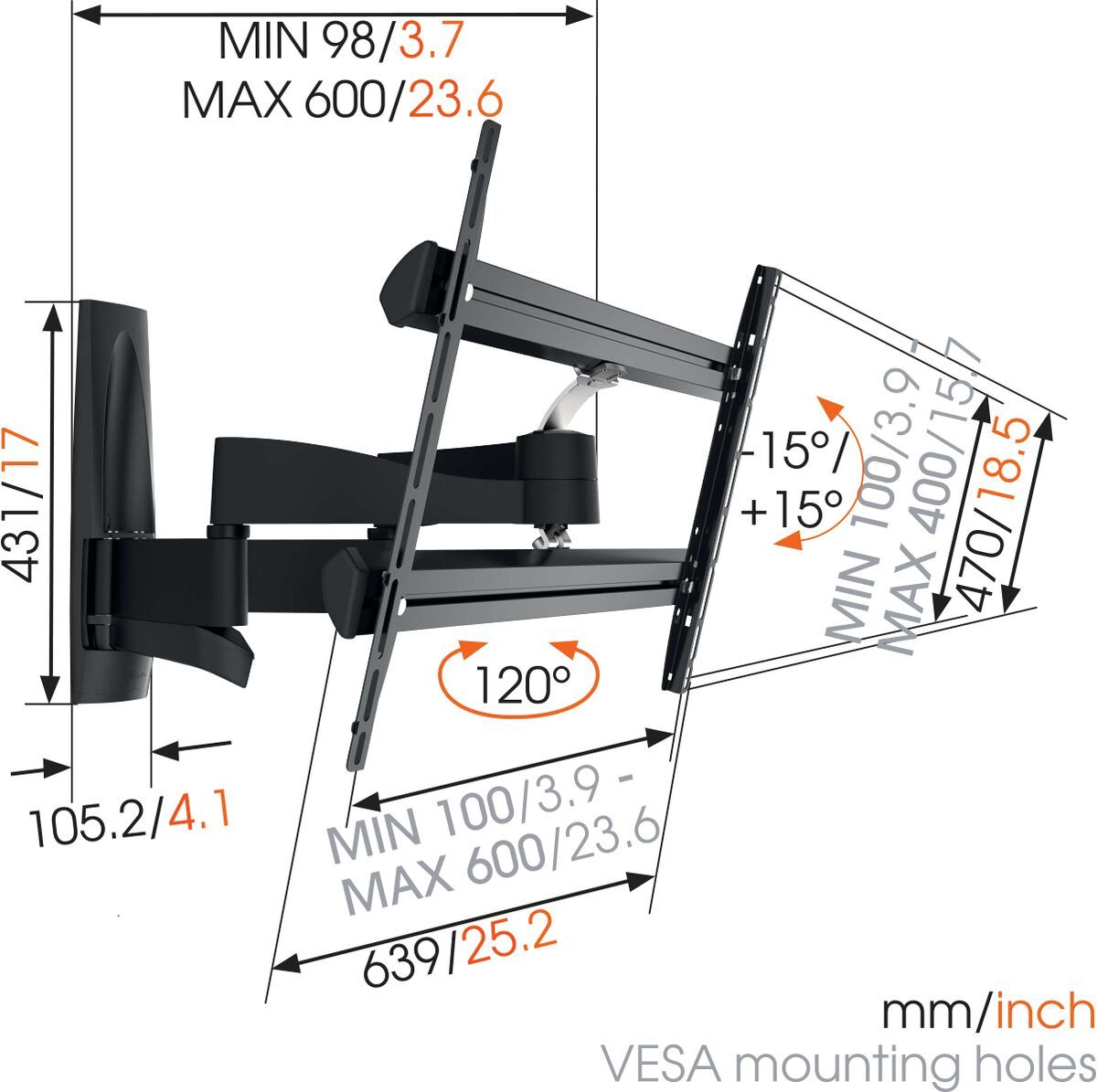 Vogel's WALL 2350 Full-Motion TV Wall Mount - Suitable for 40 up to 65 inch TVs - Motion (up to 120°) - Tilt up to 15° - Dimensions