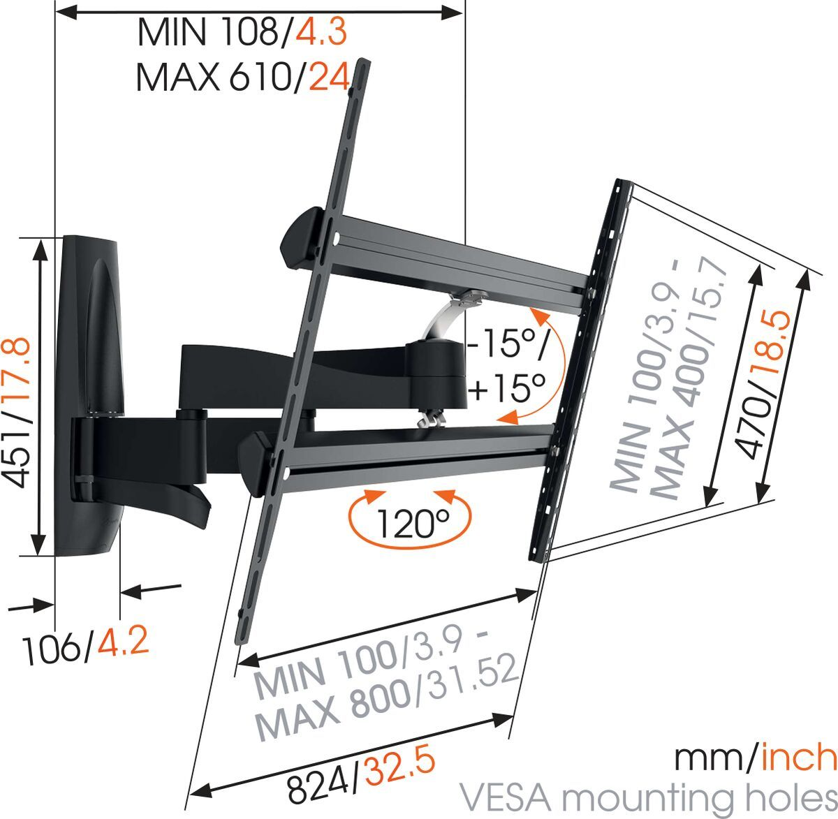 Vogel's WALL 2450 Full-Motion TV Wall Mount - Suitable for Motion (up to 120°) - Suitable for Tilt up to 15° - Suitable for Dimensions