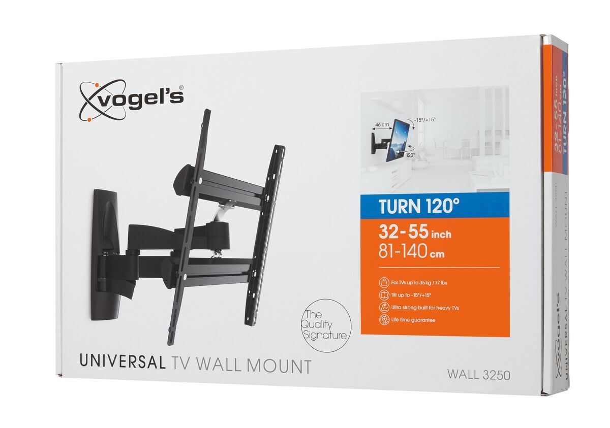 Vogel's WALL 3250 Full-Motion TV Wall Mount - Suitable for Forward and turning motion (up to 120°) - Suitable for Tilt up to 15° - Suitable for Pack shot 3D