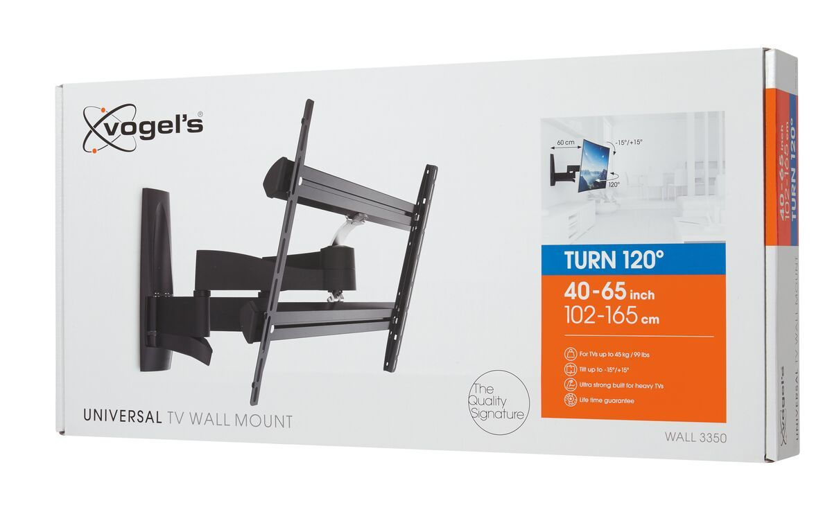 Vogel's WALL 3350 Full-Motion TV Wall Mount - Suitable for 40 up to 65 inch TVs - Forward and turning motion (up to 120°) - Tilt up to 15° - Pack shot 3D