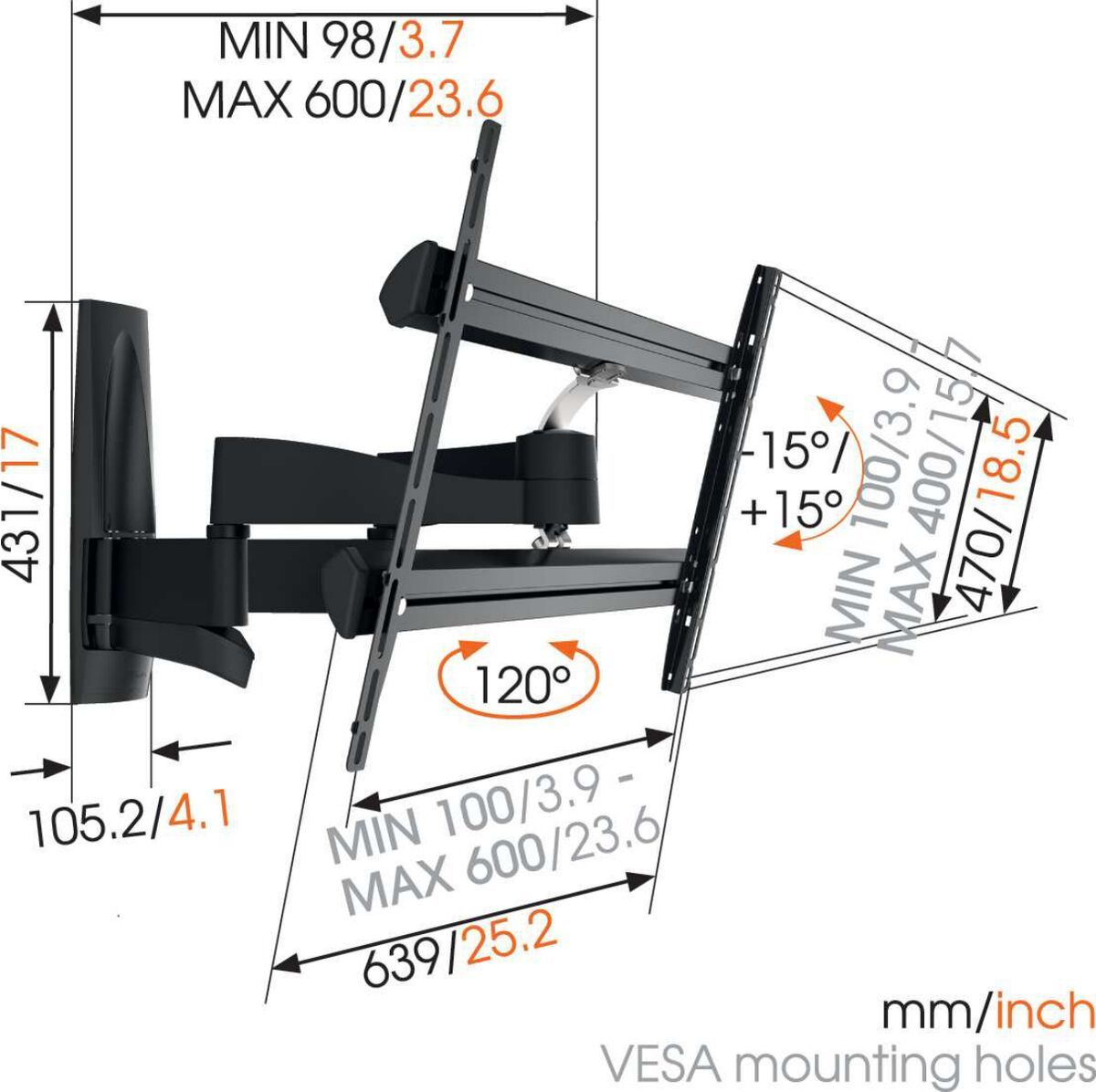 Vogel's WALL 3350 Full-Motion TV Wall Mount - Suitable for 40 up to 65 inch TVs - Forward and turning motion (up to 120°) - Tilt up to 15° - Dimensions