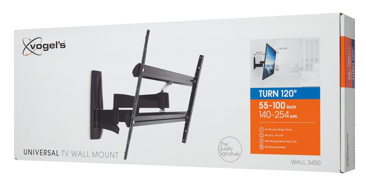 Vogel's WALL 3450 Full-Motion TV Wall Mount - Suitable for 55 up to 100 inch TVs - Forward and turning motion (up to 120°) - Tilt up to 15° - Pack shot 3D