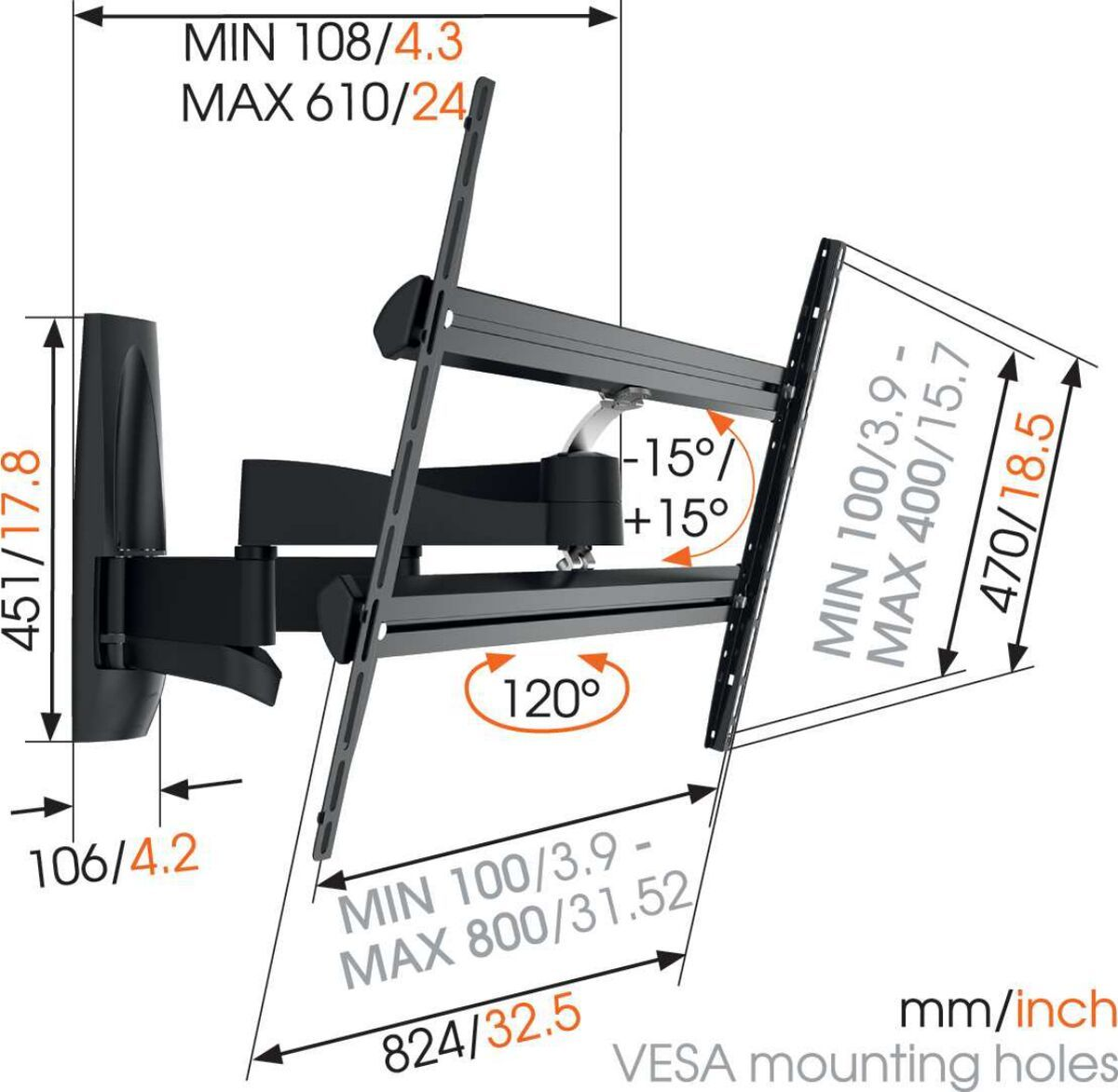 Vogel's WALL 3450 Full-Motion TV Wall Mount - Suitable for 55 up to 100 inch TVs - Forward and turning motion (up to 120°) - Tilt up to 15° - Dimensions