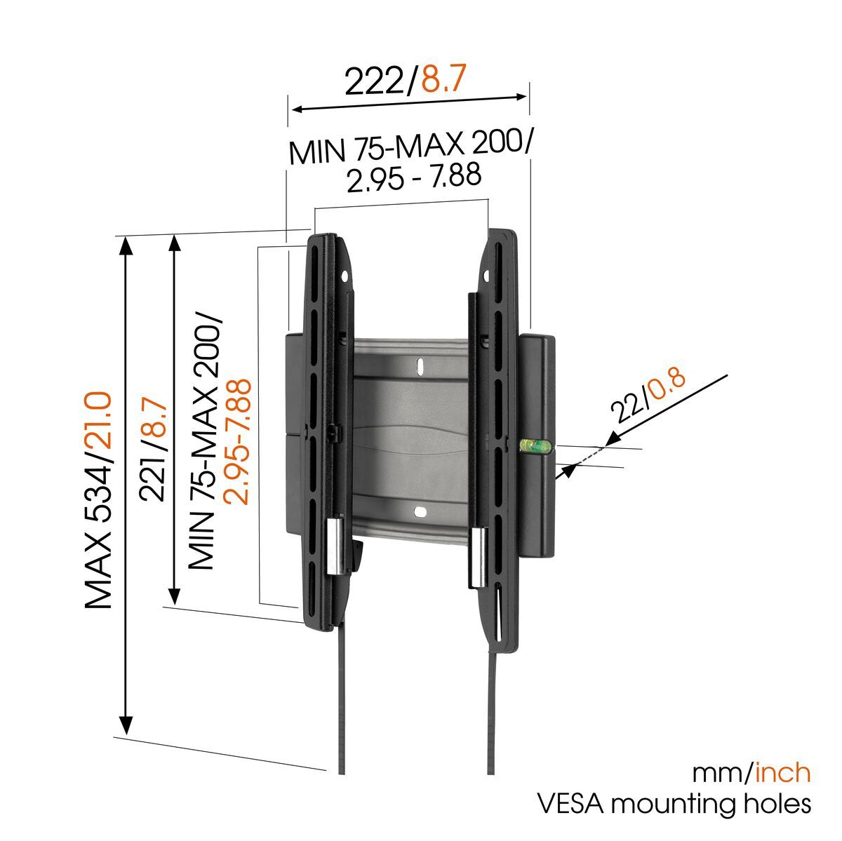 Vogel's EFW 8105 Fixed TV Wall Mount - Suitable for 19 up to 40 inch TVs up to 20 kg - Dimensions