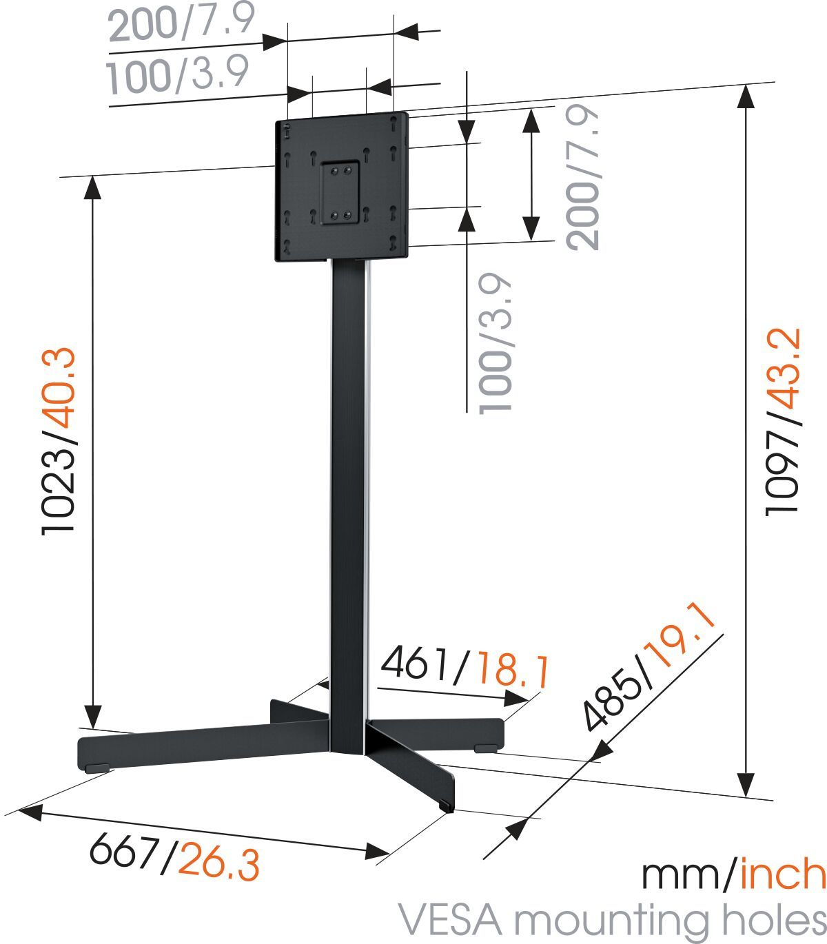 Vogel's EFF 8230 TV Floor Stand - Suitable for 19 up to 40 inch TVs up to 30 kg - Dimensions