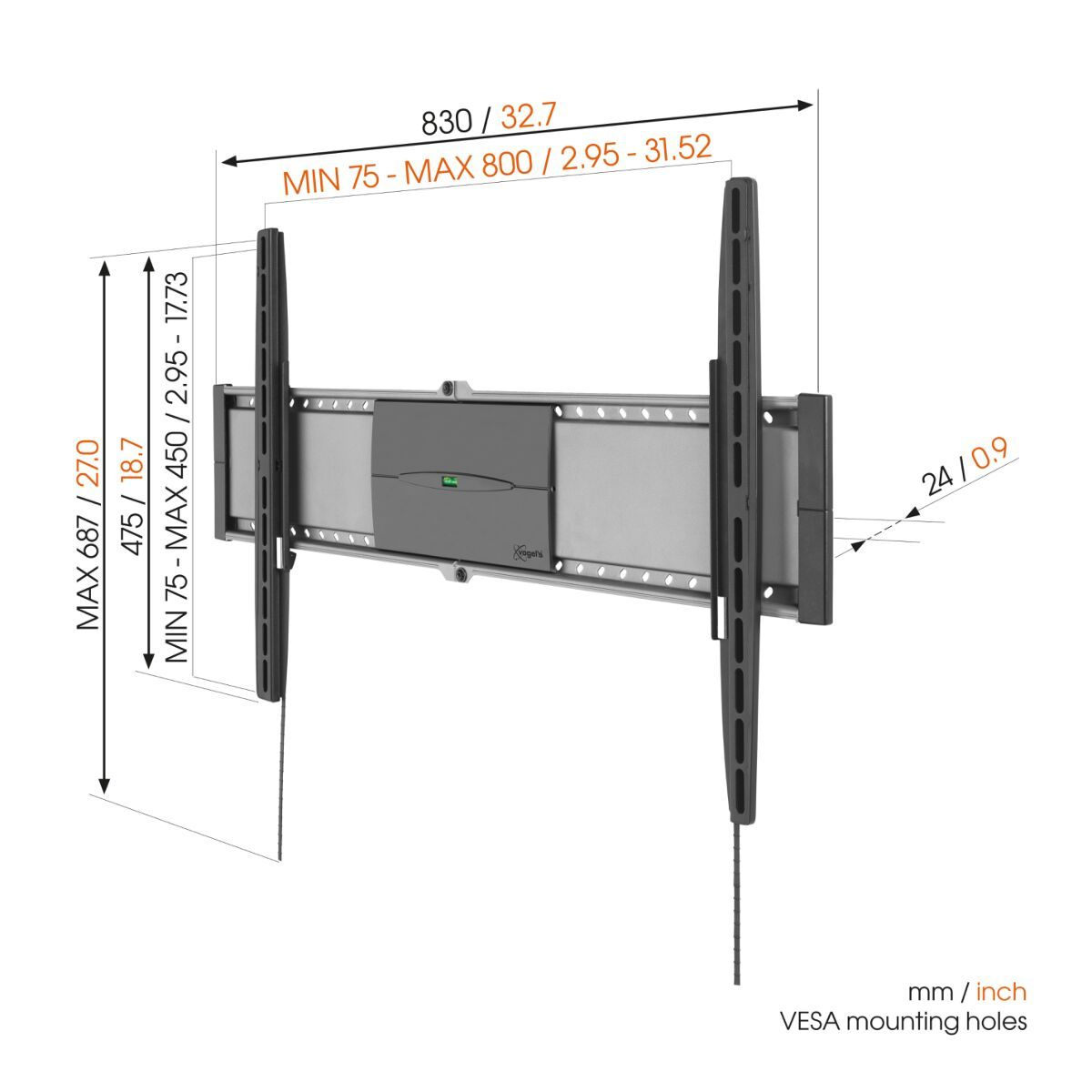 Vogel's EFW 8305 Fixed TV Wall Mount - Suitable for 40 up to 80 inch TVs up to 70 kg - Dimensions
