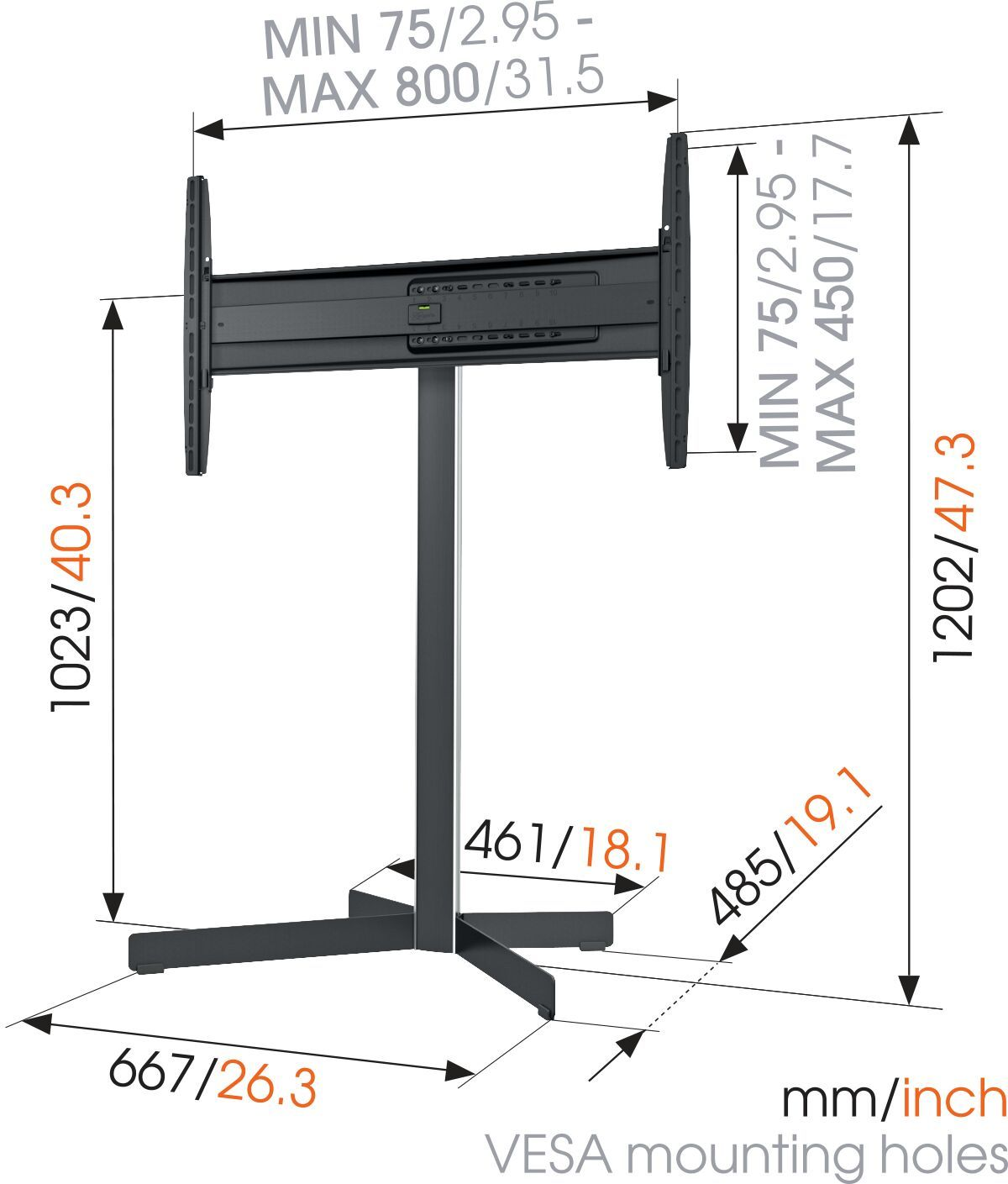 Vogel's EFF 8330 TV Floor Stand - Suitable for 40 up to 65 inch TVs up to 45 kg - Dimensions
