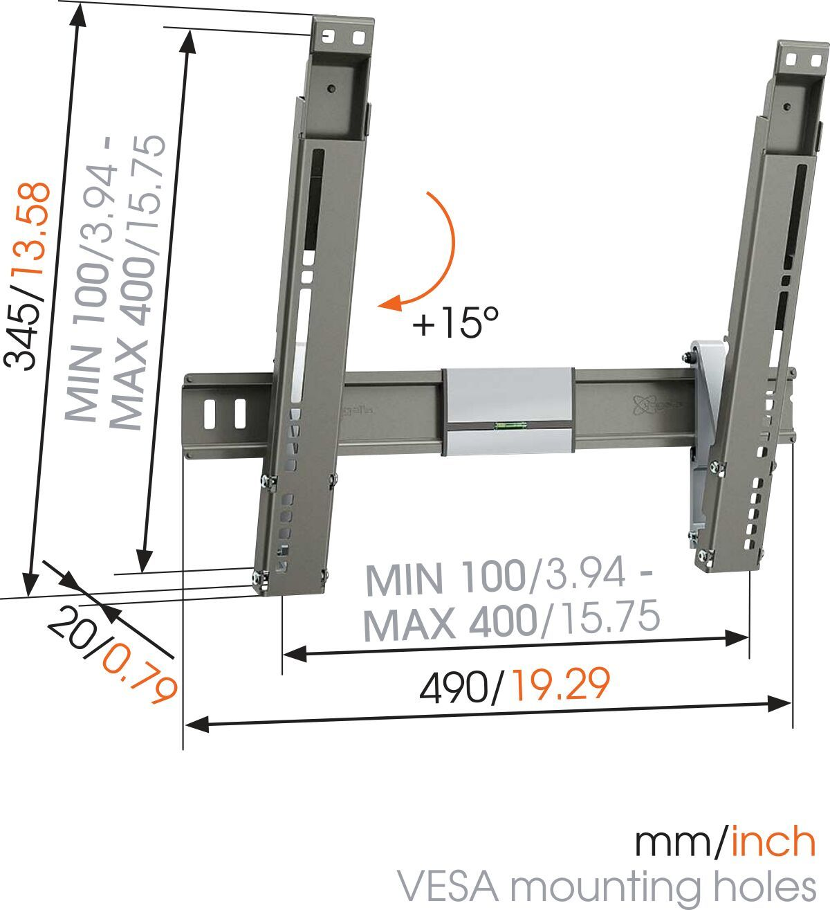 Vogel's THIN 215 UltraThin Tilting TV Wall Mount - Suitable for 26 up to 55 inch TVs up to 18 kg - Tilt up to 15° - Dimensions