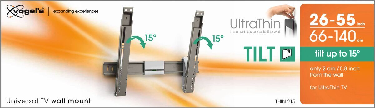 Vogel's THIN 215 UltraThin Staffa TV Inclinabile - Adatto per televisori da 26 a 55 pollici fino a 18 kg - Inclinazione fino a 15° - Packaging front