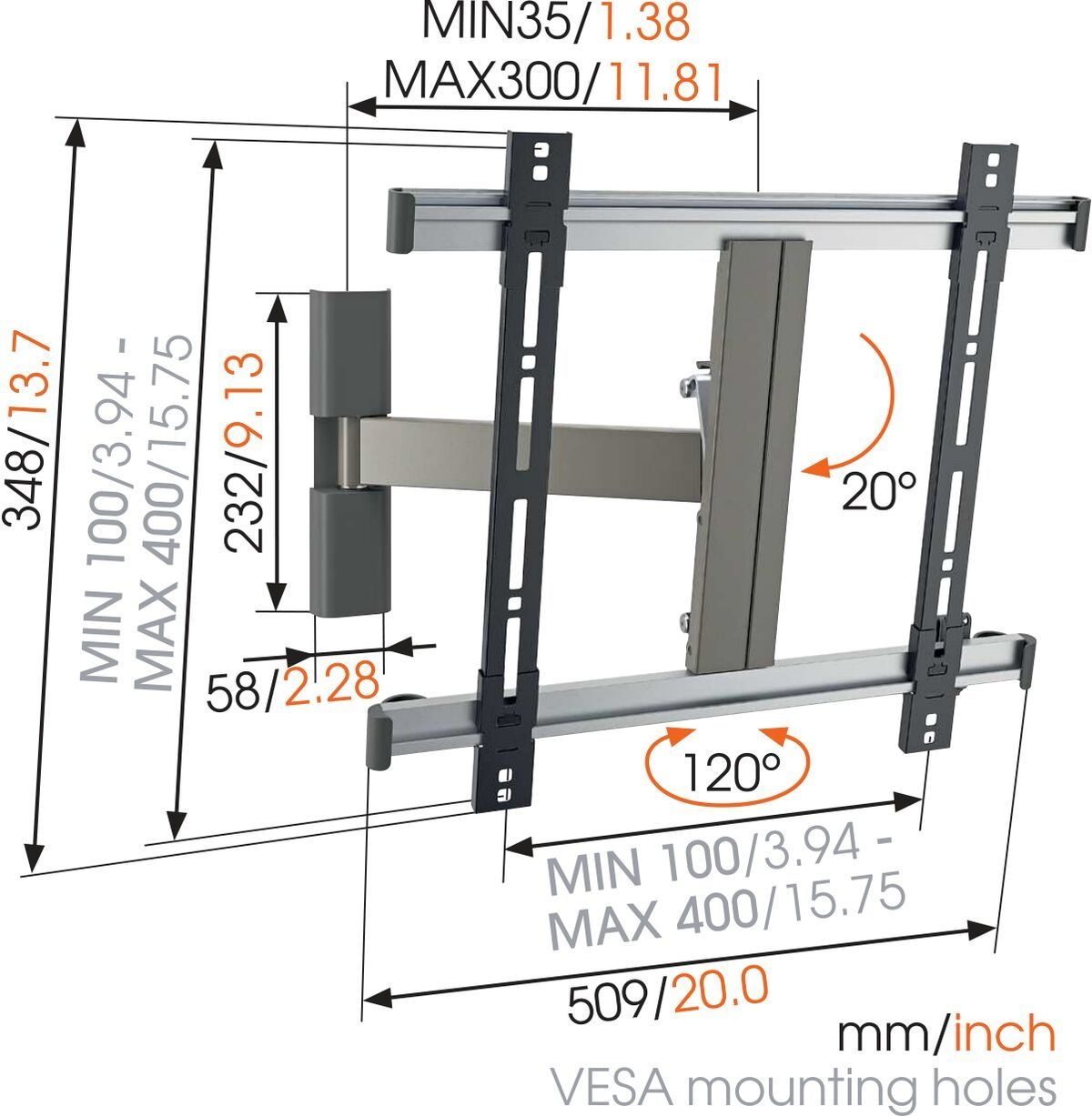 Vogel's THIN 225 UltraThin Full-Motion TV Wall Mount - Suitable for 26 up to 55 inch TVs - Motion (up to 120°) - Tilt up to 20° - Dimensions