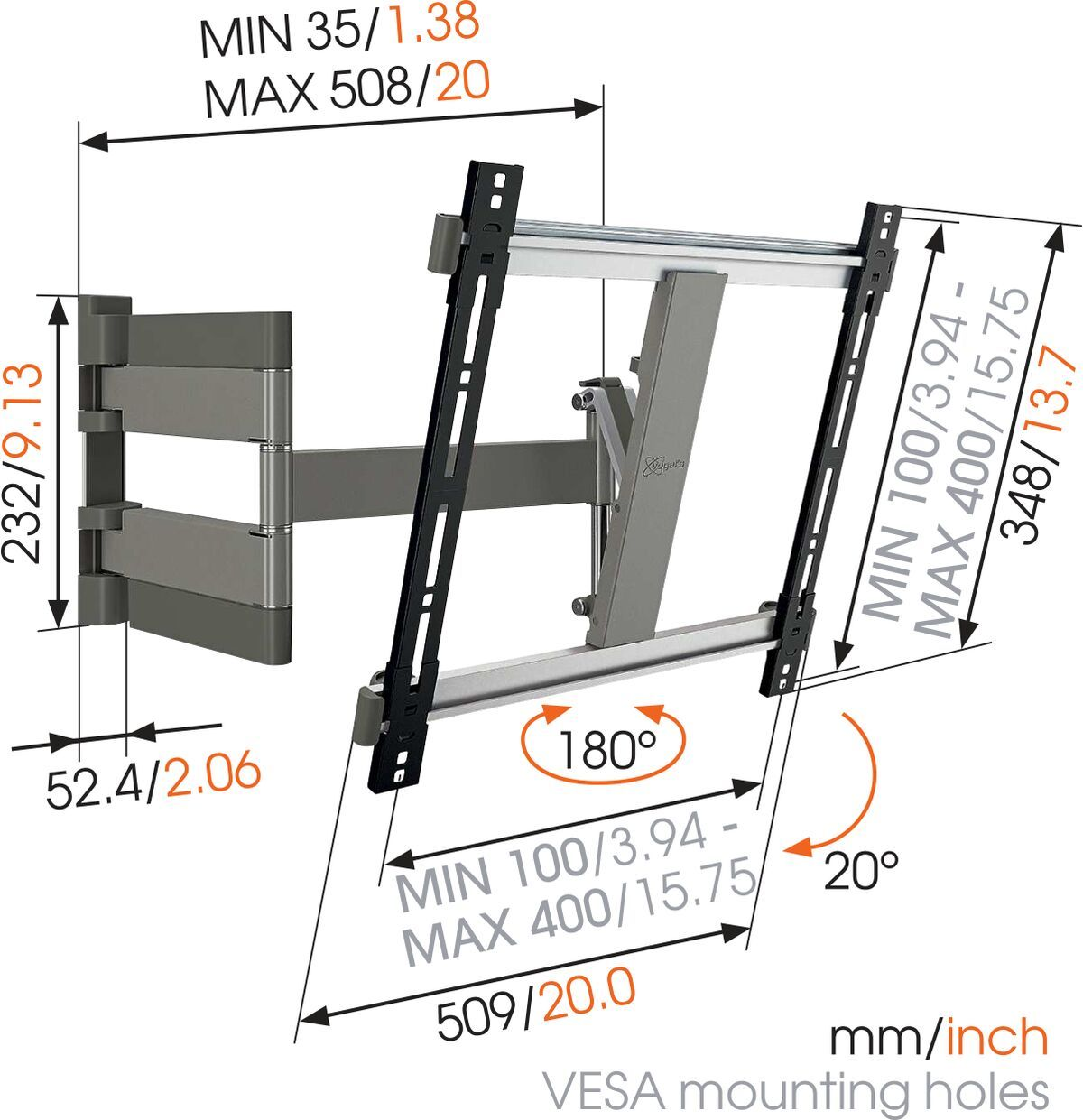 Vogel's THIN 245 UltraThin Full-Motion TV Wall Mount (black) - Suitable for 26 up to 55 inch TVs - Full motion (up to 180°) - Tilt up to 20° - Dimensions