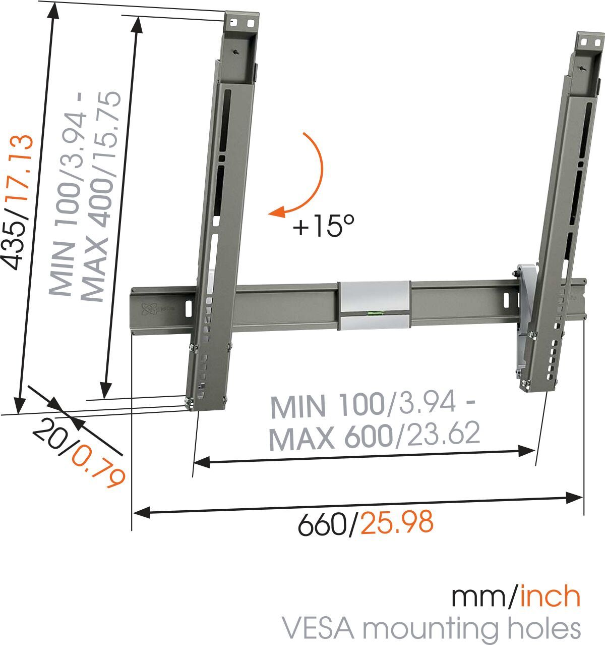Vogel's THIN 315 UltraThin Tilting TV Wall Mount - Suitable for 40 up to 65 inch TVs up to 25 kg - Tilt up to 15° - Dimensions