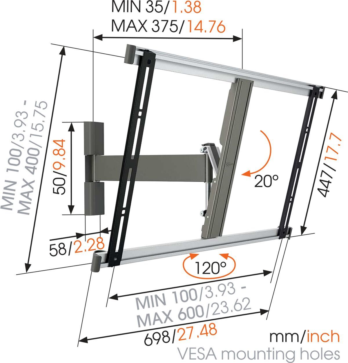 Vogel's THIN 325 UltraThin Full-Motion TV Wall Mount - Suitable for 40 up to 65 inch TVs - Motion (up to 120°) - Tilt up to 20° - Dimensions