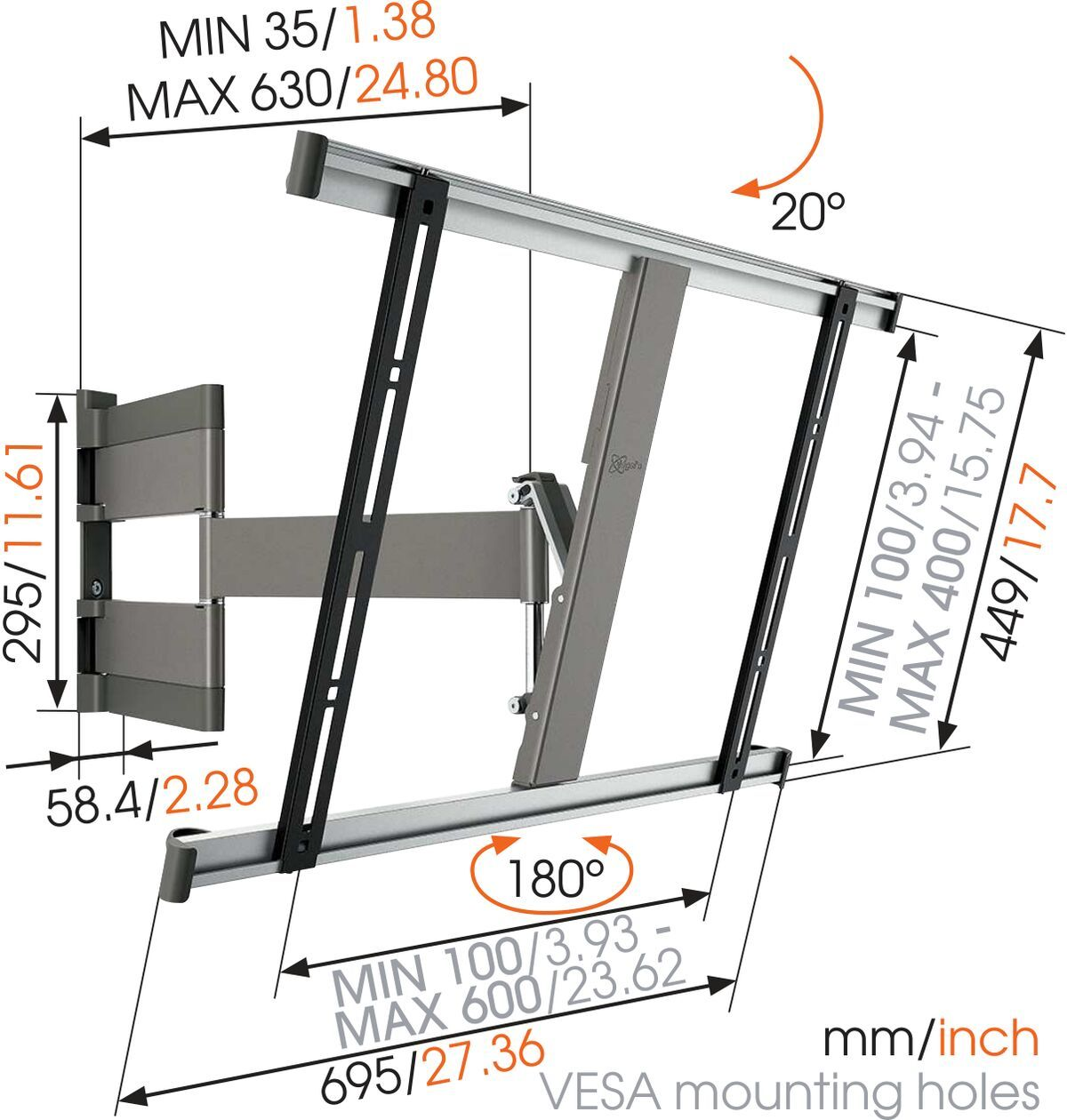 Vogel's THIN 345 UltraThin Full-Motion TV Wall Mount - Suitable for 40 up to 65 inch TVs - Full motion (up to 180°) - Tilt up to 20° - Dimensions