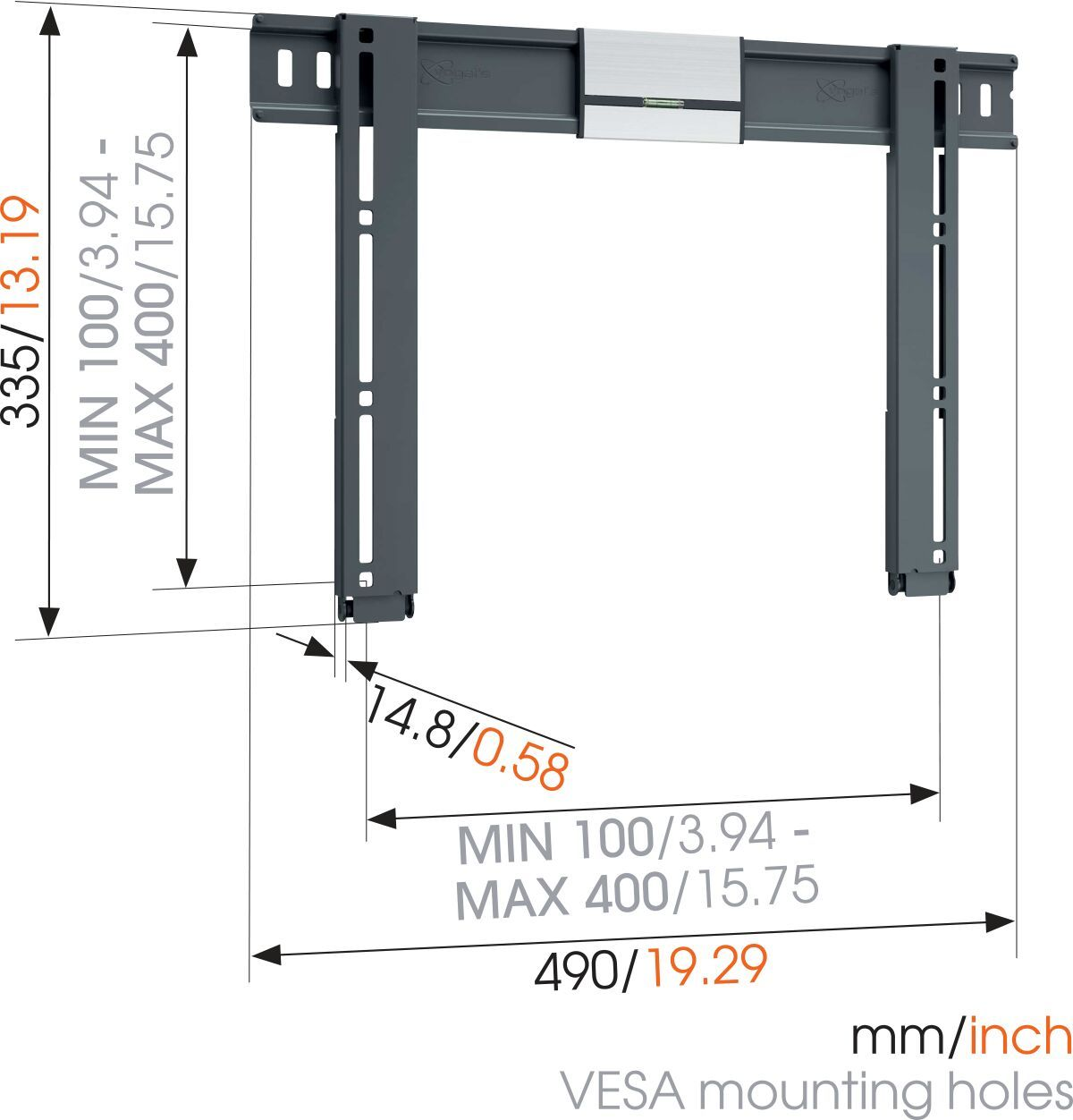 Vogel's THIN 405 ExtraThin Fixed TV Wall Mount - Suitable for 26 up to 55 inch TVs up to 25 kg - Dimensions