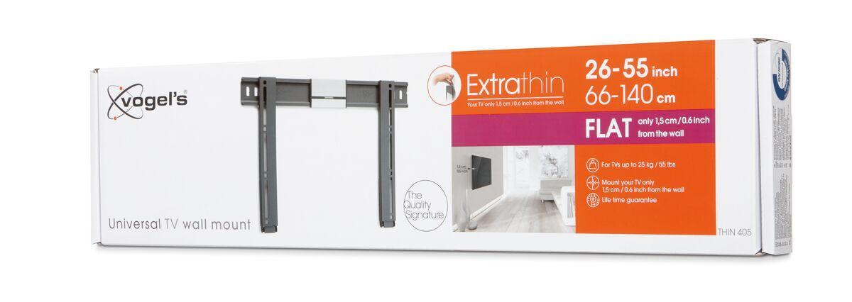 Vogel's THIN 405 ExtraThin фиксированный кронштейн для телевизора - Подходит для телевизоров от 26 до 55 дюймов до 25 кг - Pack shot 3D