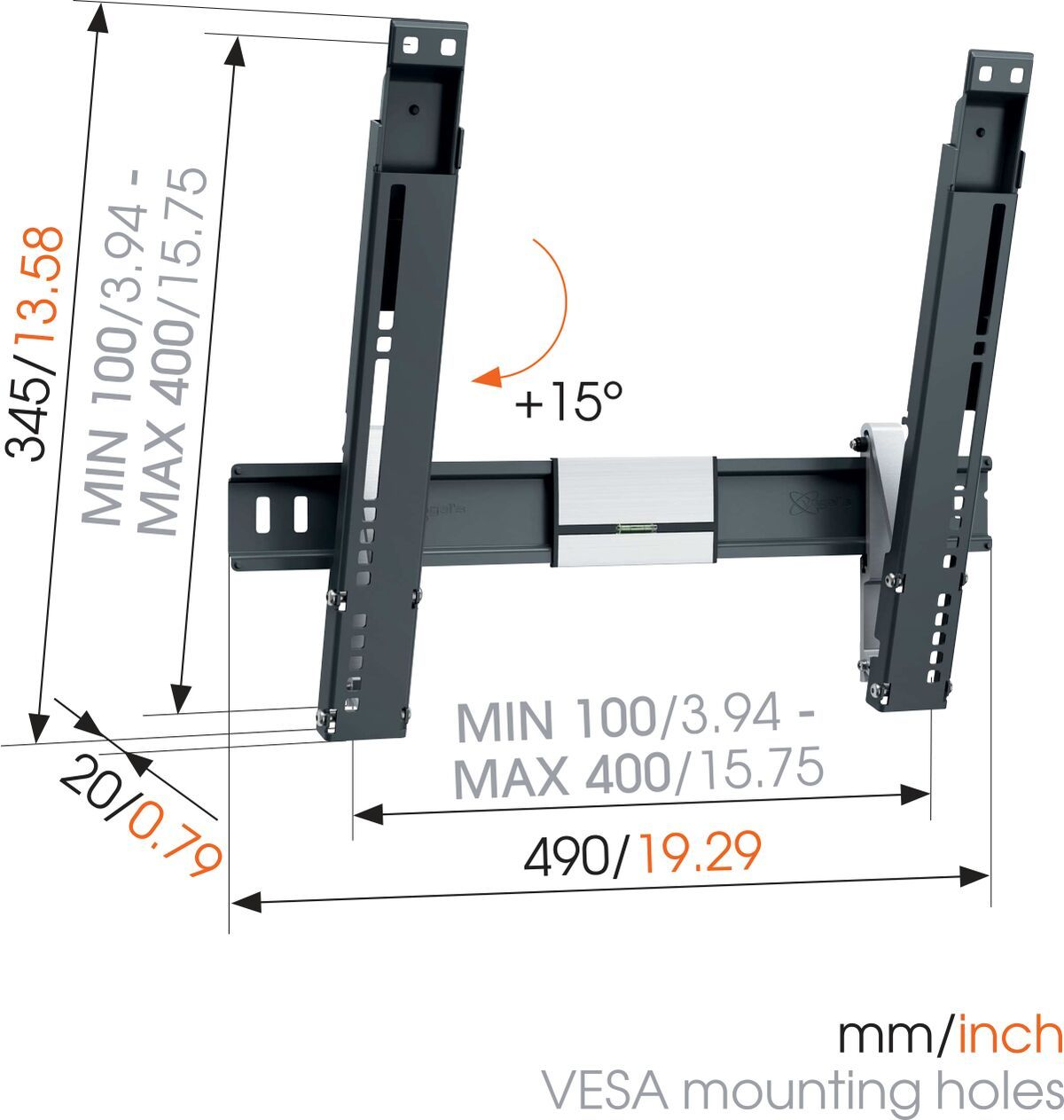 Vogel's THIN 415 ExtraThin Tilting TV Wall Mount - Suitable for 18 - Suitable for Tilt up to 15° - Suitable for Dimensions