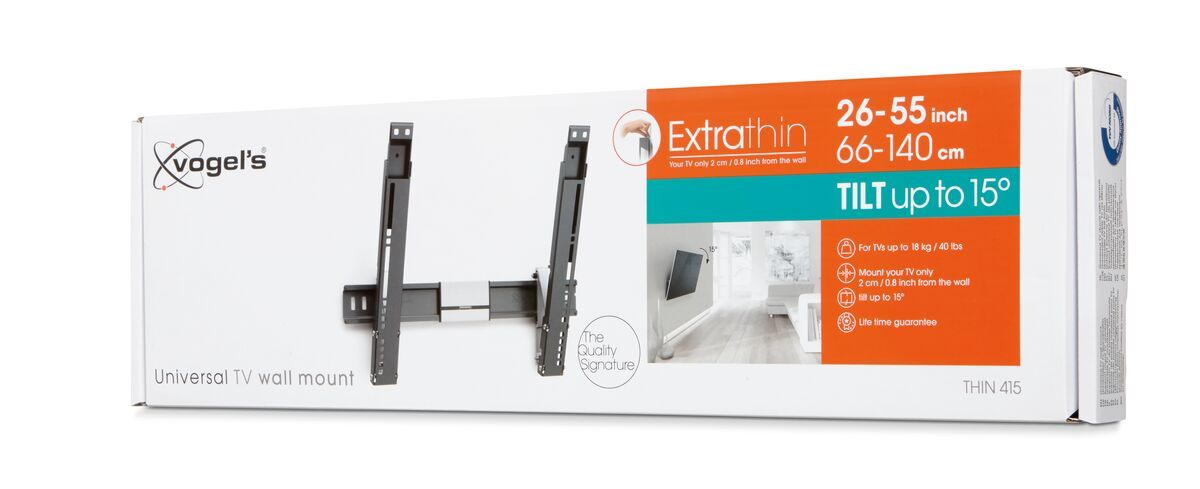 Vogel's THIN 415 ExtraThin Tilting TV Wall Mount - Suitable for 18 - Suitable for Tilt up to 15° - Suitable for Pack shot 3D