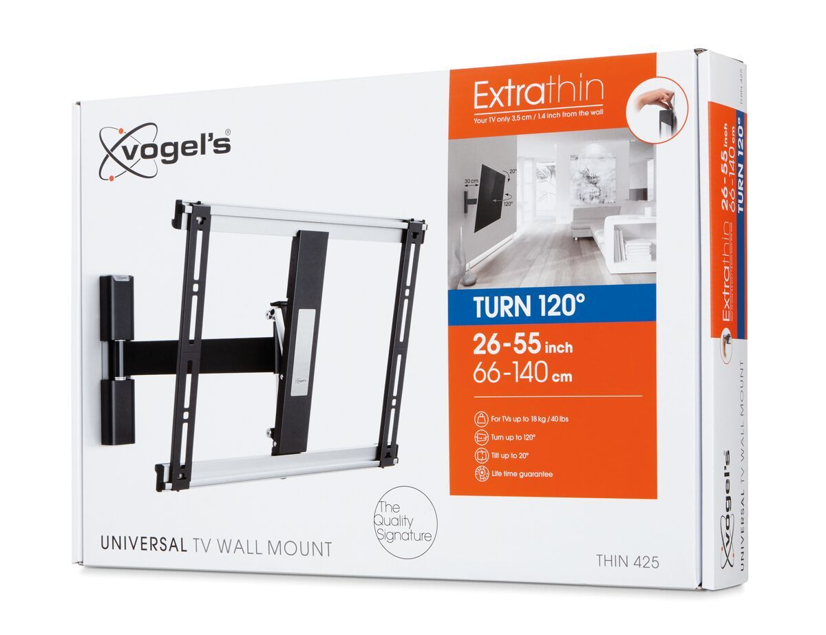 Vogel's THIN 425 ExtraThin Soporte TV Giratorio - Adecuado para televisores de 26 a 55 pulgadas - Movimiento (hasta 120°) - Abatible hasta 20° - Pack shot 3D