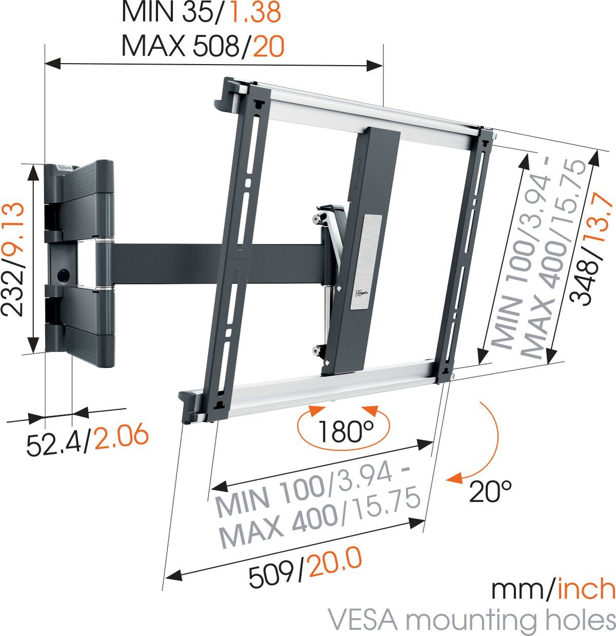 Vogel's THIN 445 ExtraThin Full-Motion TV Wall Mount (black) - Suitable for 26 up to 55 inch TVs - Full motion (up to 180°) - Tilt up to 20° - Dimensions