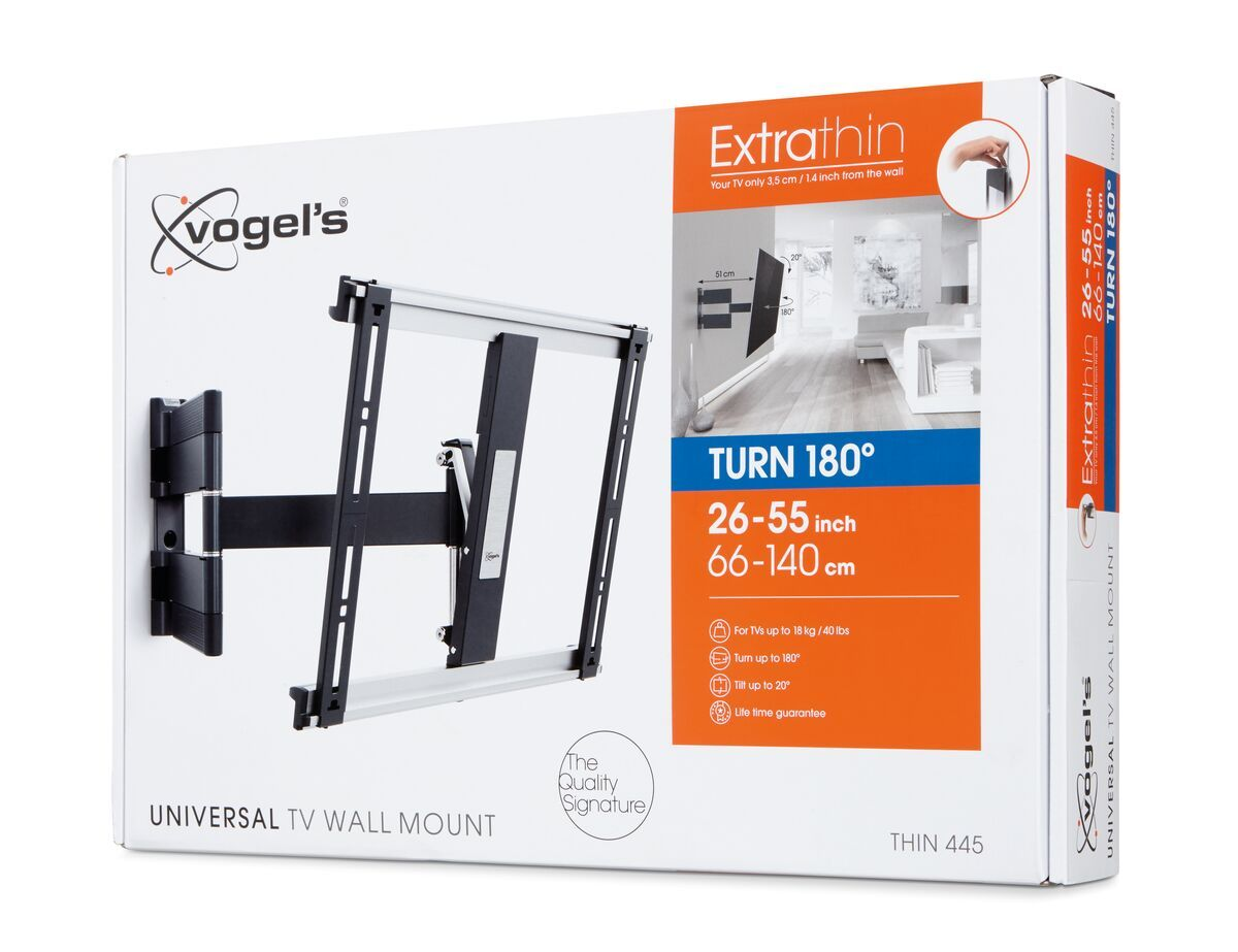 Vogel's THIN 445 ExtraThin Full-Motion TV Wall Mount (black) - Suitable for 26 up to 55 inch TVs - Full motion (up to 180°) - Tilt up to 20° - Pack shot 3D