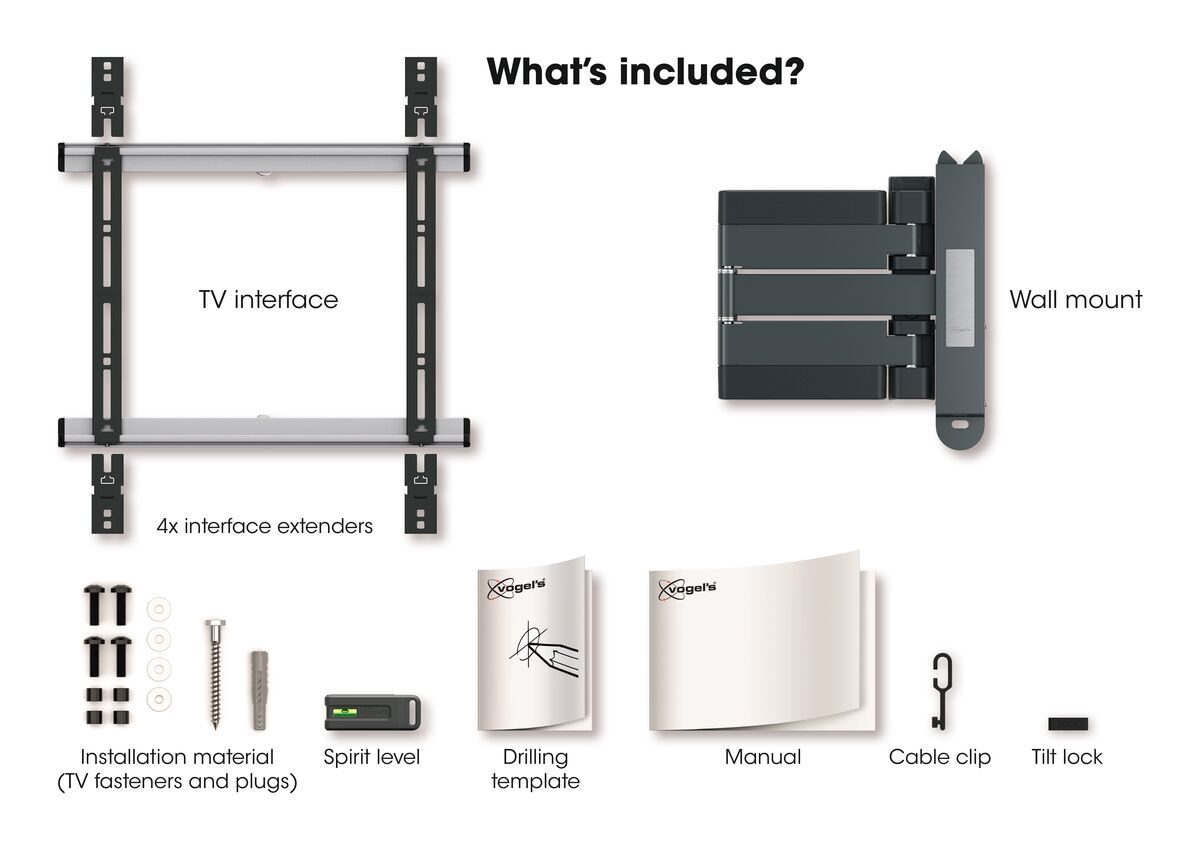 Vogel's THIN 445 ExtraThin Full-Motion TV Wall Mount (black) - Suitable for 26 up to 55 inch TVs - Full motion (up to 180°) - Tilt up to 20° - What's in the box