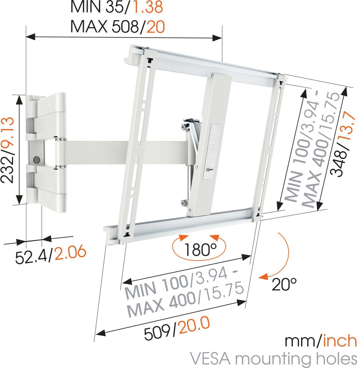 Vogel's THIN 445 ExtraThin Full-Motion TV Wall Mount (white) - Suitable for 26 up to 55 inch TVs - Full motion (up to 180°) - Tilt up to 20° - Dimensions