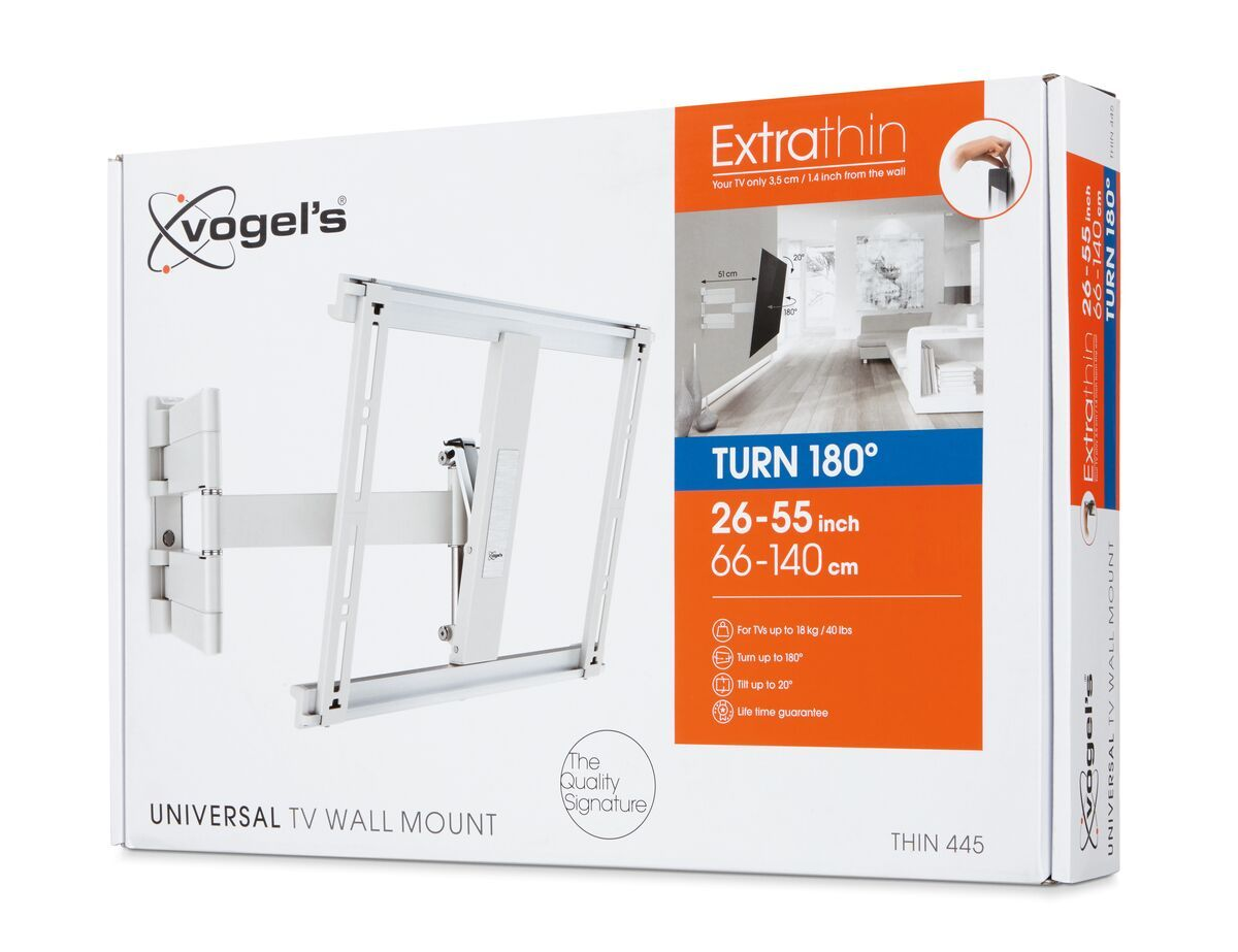 Vogel's THIN 445 ExtraThin Full-Motion TV Wall Mount (white) - Suitable for 26 up to 55 inch TVs - Full motion (up to 180°) - Tilt up to 20° - Pack shot 3D
