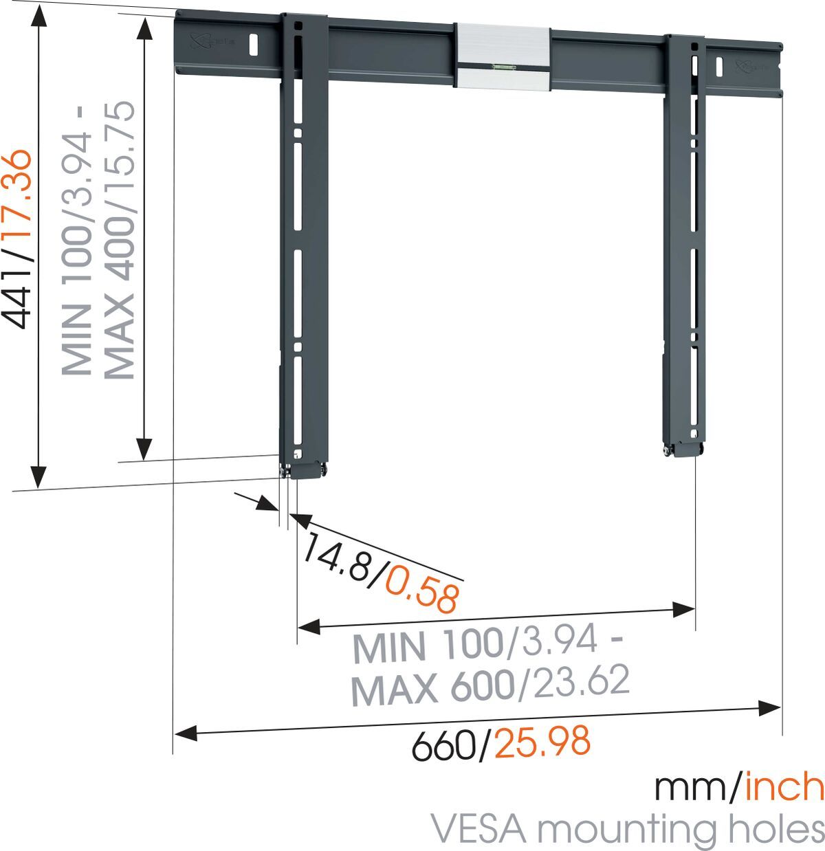 Vogel's THIN 505 ExtraThin Fixed TV Wall Mount - Suitable for 40 up to 65 inch TVs up to 40 kg - Dimensions