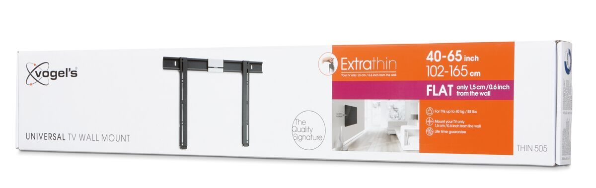 Vogel's THIN 505 ExtraThin Fixed TV Wall Mount - Suitable for 40 up to 65 inch TVs up to 40 kg - Pack shot 3D