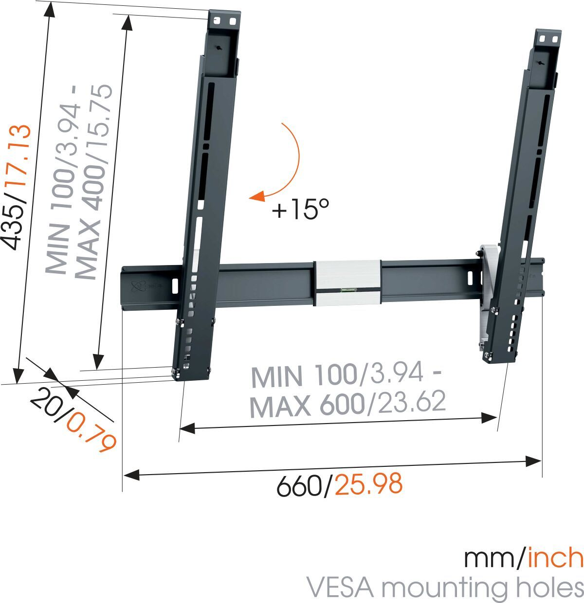 Vogel's THIN 515 ExtraThin Tilting TV Wall Mount - Suitable for 40 up to 65 inch TVs up to 25 kg - Tilt up to 15° - Dimensions
