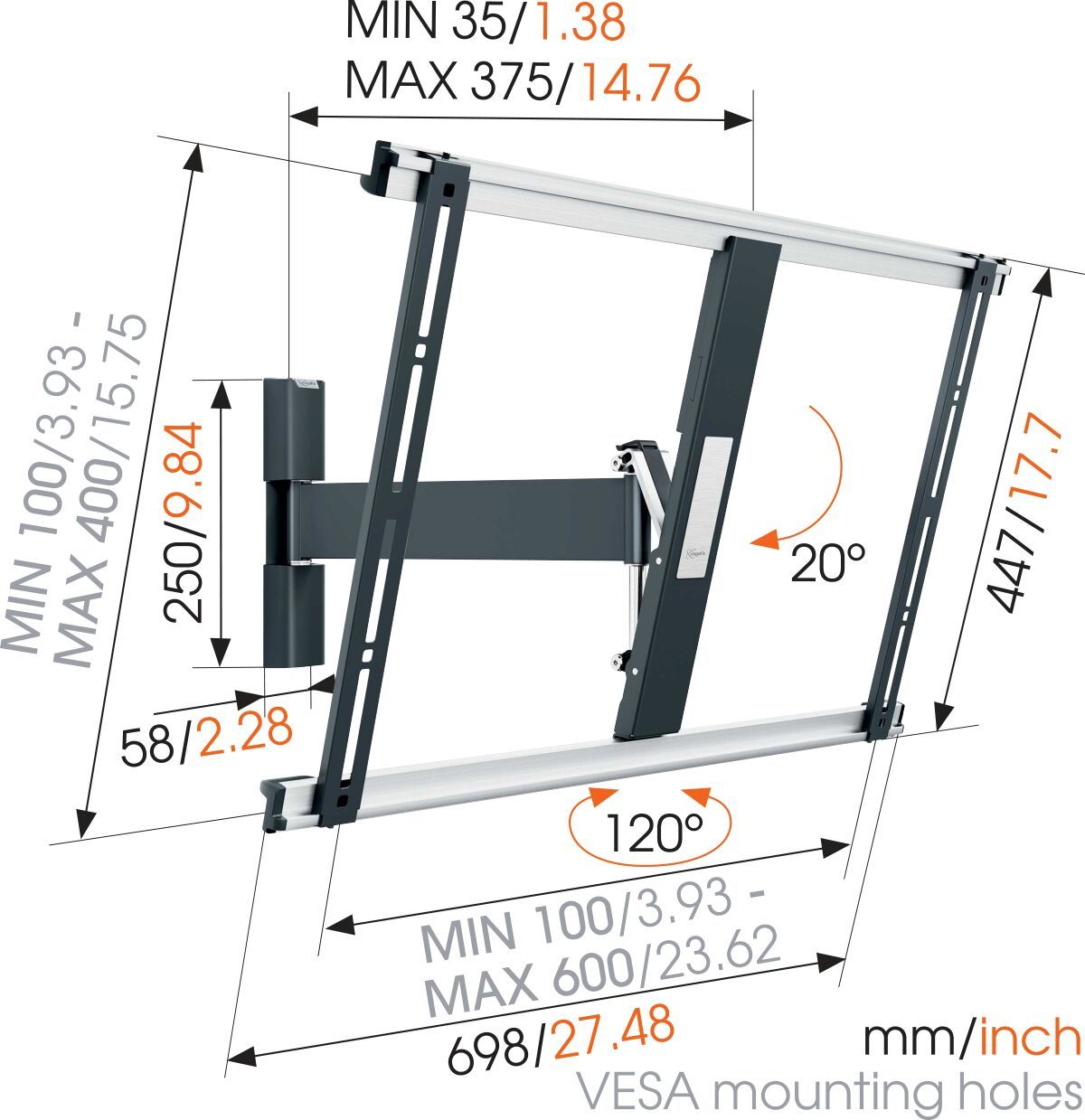 Vogel's THIN 525 ExtraThin Full-Motion TV Wall Mount - Suitable for 40 up to 65 inch TVs - Motion (up to 120°) - Tilt up to 20° - Dimensions