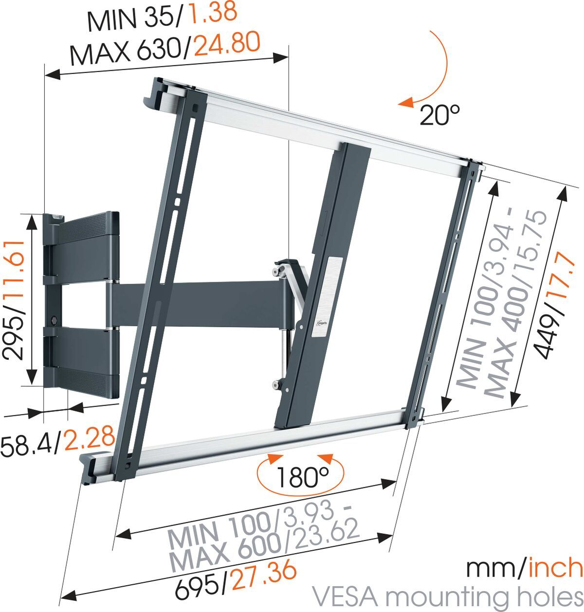 Vogel's THIN 545 ExtraThin Full-Motion TV Wall Mount (black) - Suitable for 40 up to 65 inch TVs - Full motion (up to 180°) - Tilt up to 20° - Dimensions