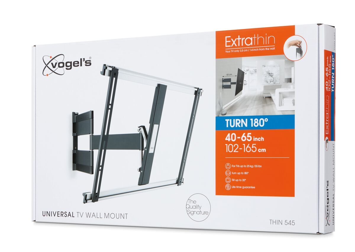 Vogel's THIN 545 ExtraThin Full-Motion TV Wall Mount (black) - Suitable for 40 up to 65 inch TVs - Full motion (up to 180°) - Tilt up to 20° - Pack shot 3D