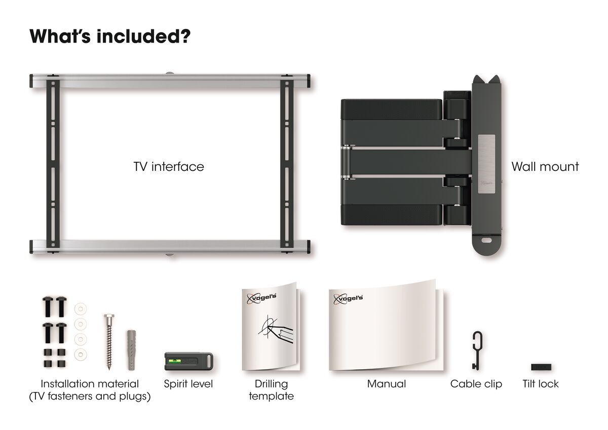 Vogel's THIN 545 ExtraThin Full-Motion TV Wall Mount (black) - Suitable for 40 up to 65 inch TVs - Full motion (up to 180°) - Tilt up to 20° - What's in the box
