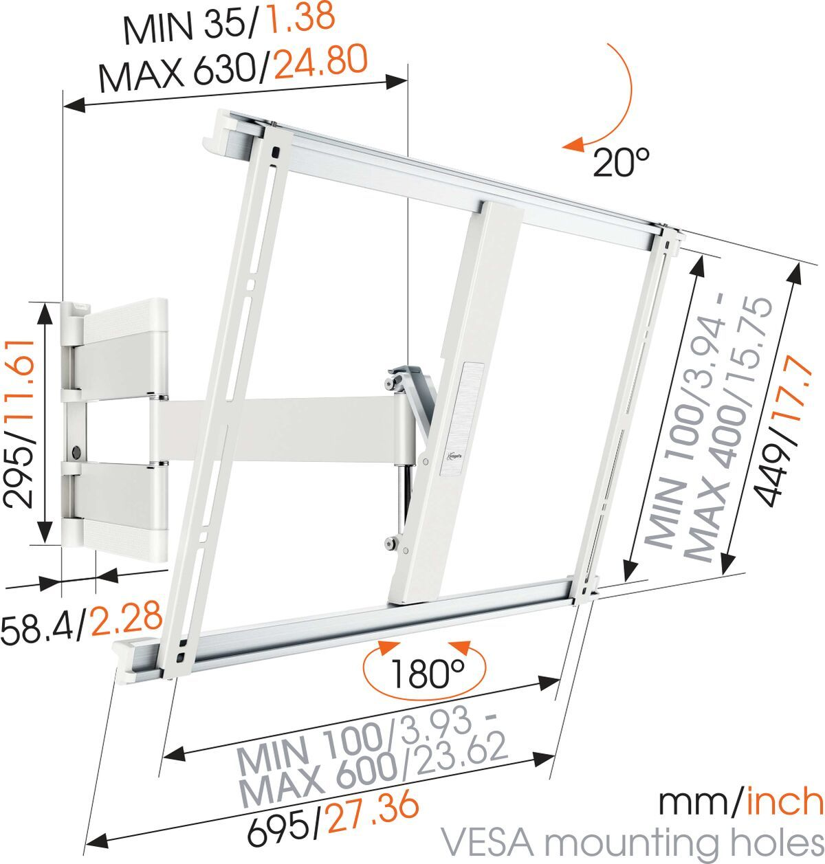 Vogel's THIN 545 ExtraThin Full-Motion TV Wall Mount (white) - Suitable for 40 up to 65 inch TVs - Full motion (up to 180°) - Tilt up to 20° - Dimensions