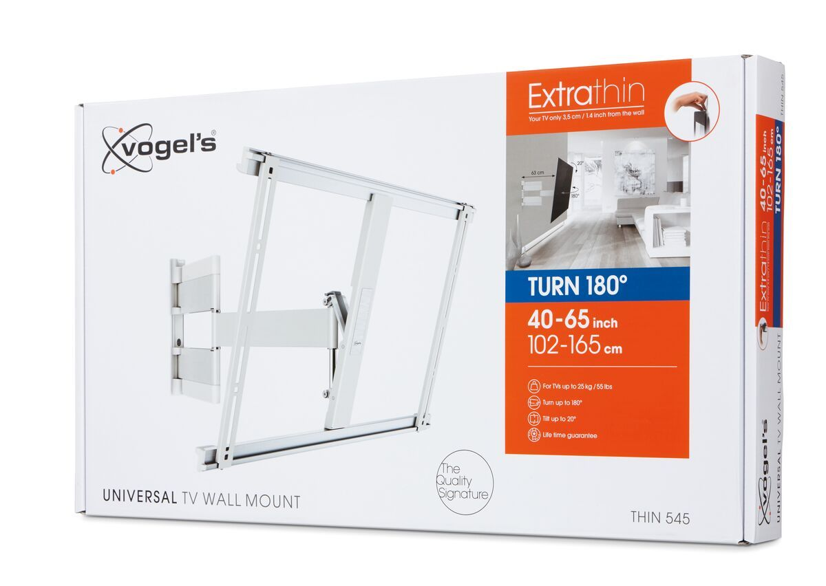 Vogel's THIN 545 ExtraThin Full-Motion TV Wall Mount (white) - Suitable for 40 up to 65 inch TVs - Full motion (up to 180°) - Tilt up to 20° - Pack shot 3D