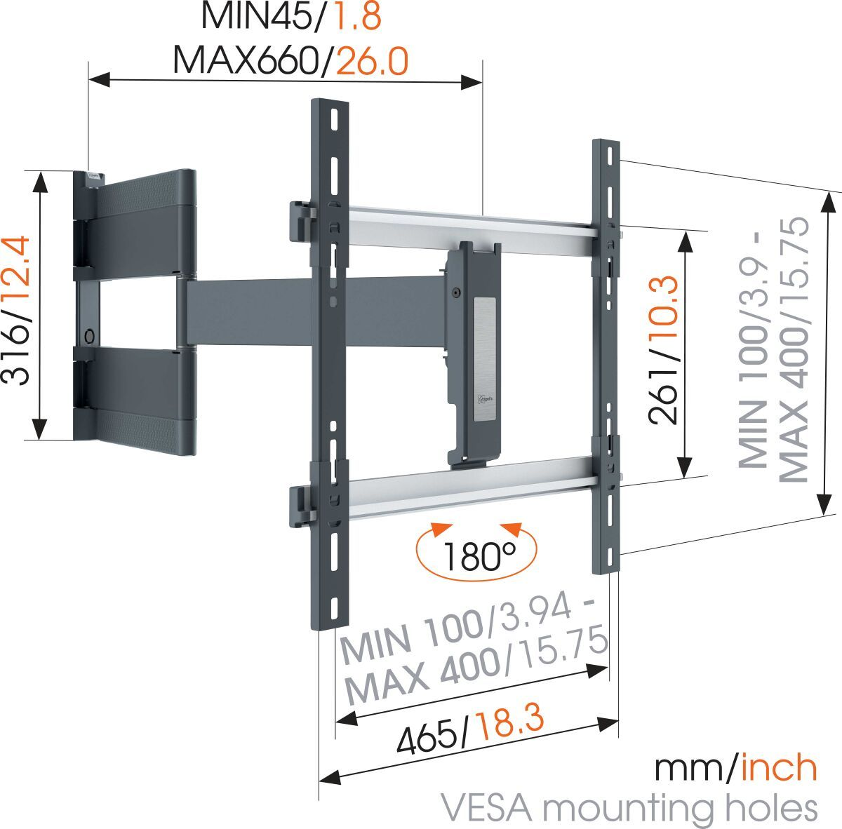 Vogel's THIN 546 ExtraThin Full-Motion TV Wall Mount for OLED TVs (black) - Suitable for 40 up to 65 inch TVs - Full motion (up to 180°) - - Dimensions