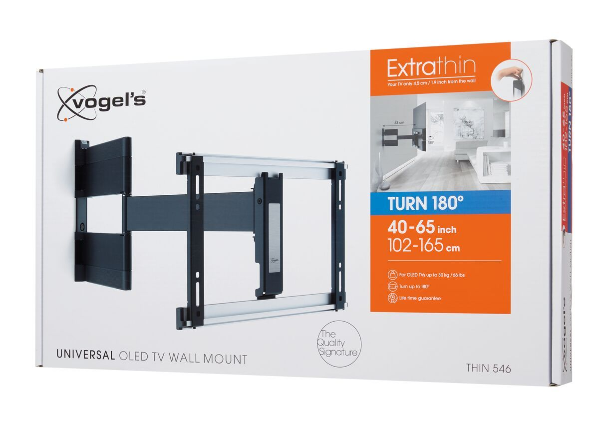 Vogel's THIN 546 ExtraThin Full-Motion TV Wall Mount for OLED TVs (black) - Suitable for 40 up to 65 inch TVs - Full motion (up to 180°) - - Pack shot 3D