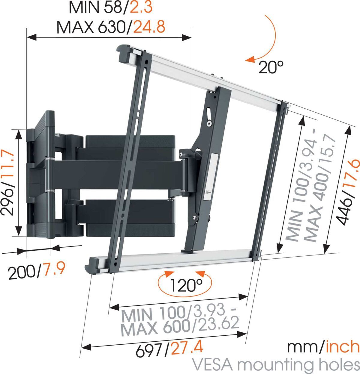 Vogel's THIN 550 ExtraThin Full-Motion TV Wall Mount - Suitable for 40 up to 100 inch TVs - Forward and turning motion (up to 120°) - Tilt up to 20° - Dimensions