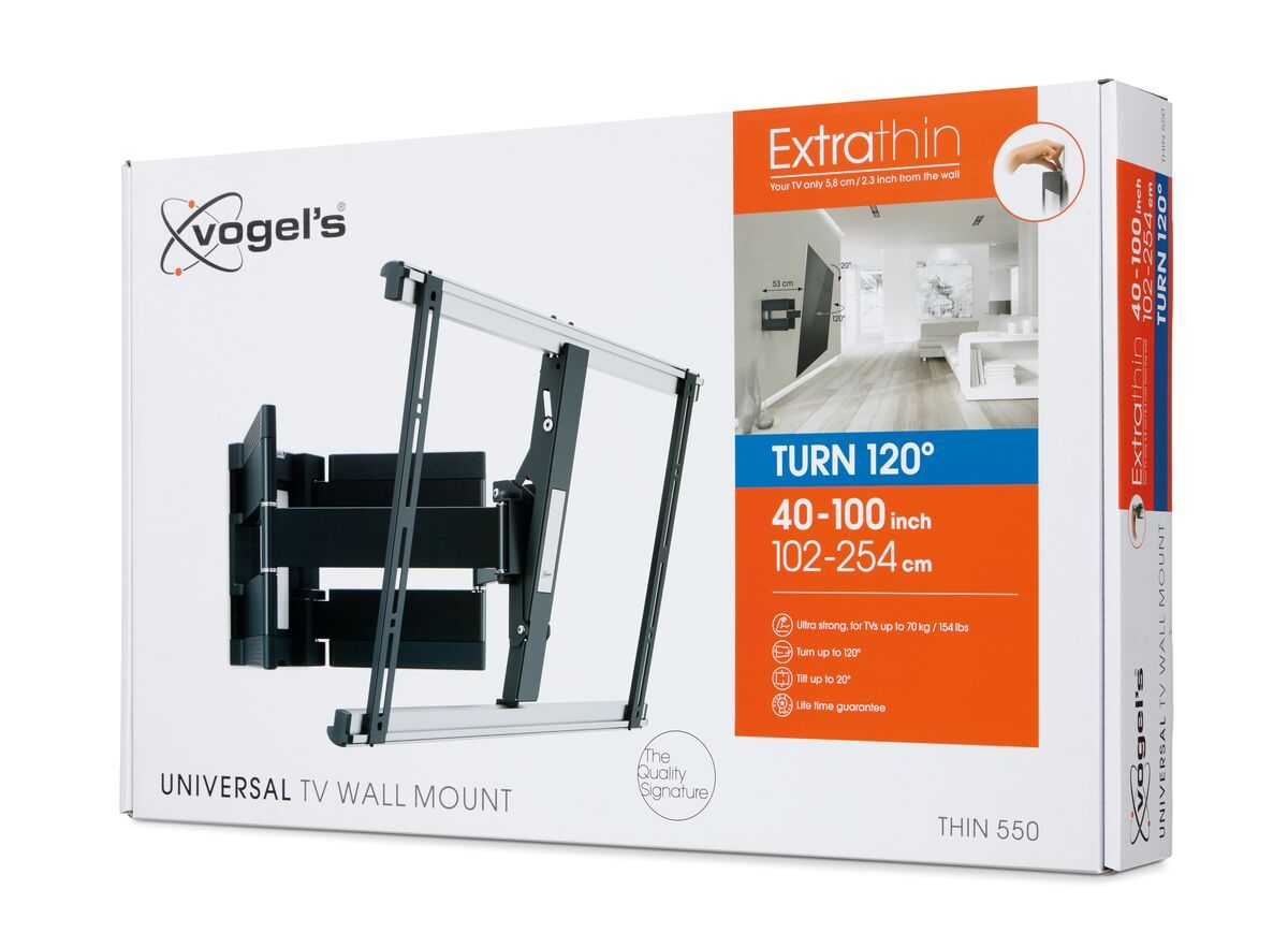 Vogel's THIN 550 ExtraThin Full-Motion TV Wall Mount - Suitable for 40 up to 100 inch TVs - Forward and turning motion (up to 120°) - Tilt up to 20° - Pack shot 3D