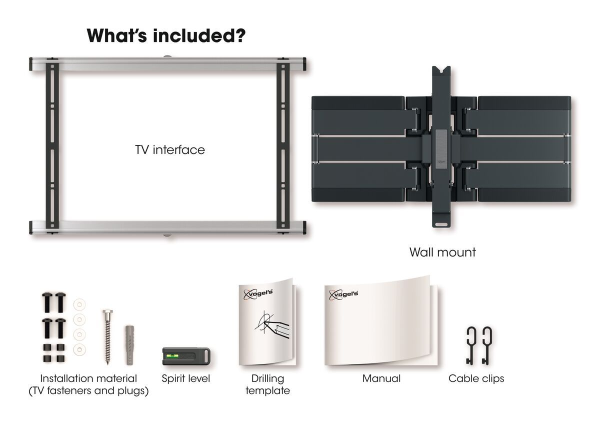 Vogel's THIN 550 ExtraThin Full-Motion TV Wall Mount - Suitable for 40 up to 100 inch TVs - Forward and turning motion (up to 120°) - Tilt up to 20° - What's in the box