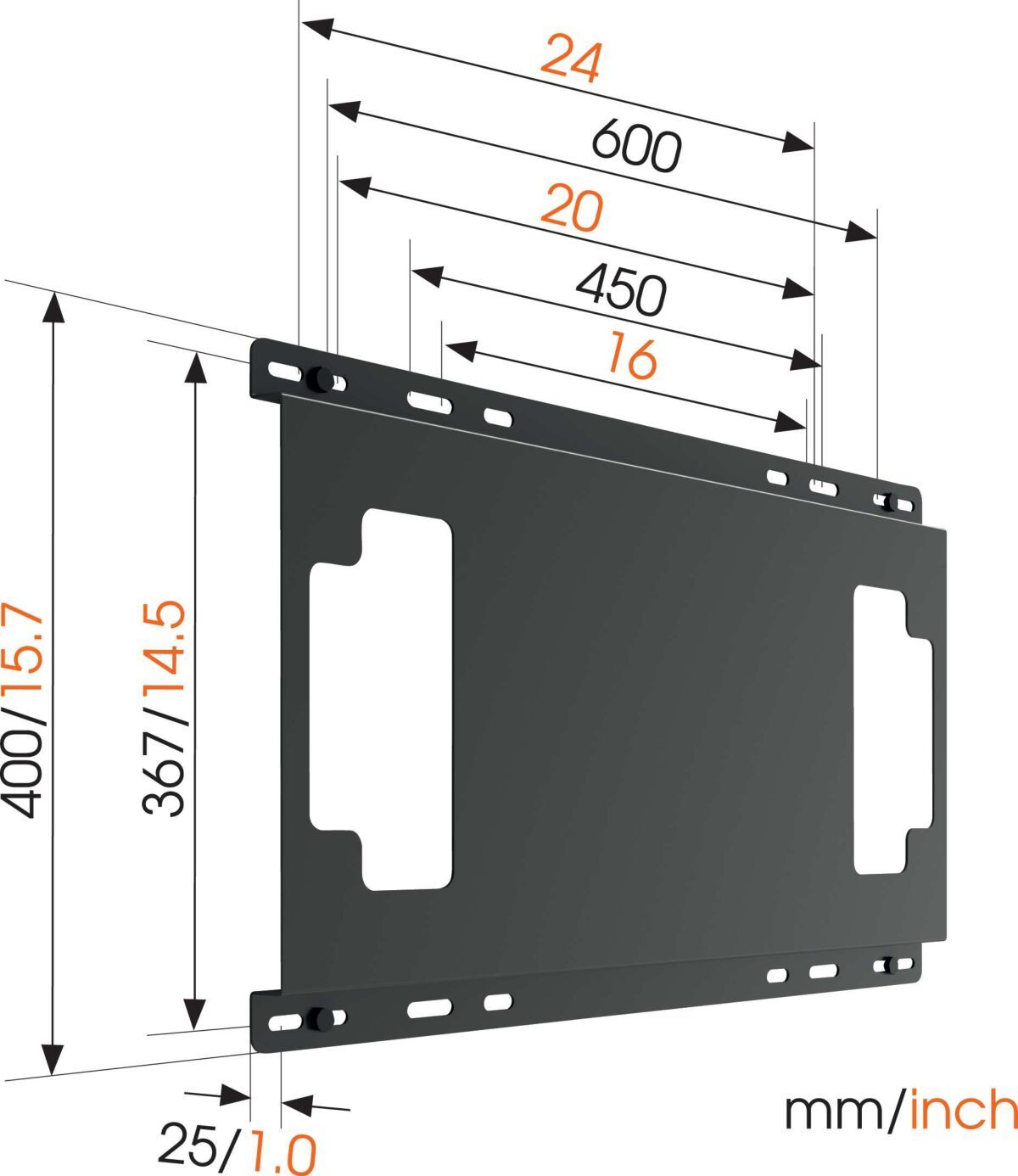 Vogel's THIN 595 Stud Adapter for TV Mounts Dimensions