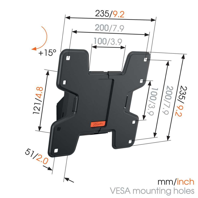 Vogel's W50610 наклонный кронштейн для телевизора - Подходит для телевизоров от 19 до 43 дюймов до 20 кг - Наклон на угол до 15° - Dimensions