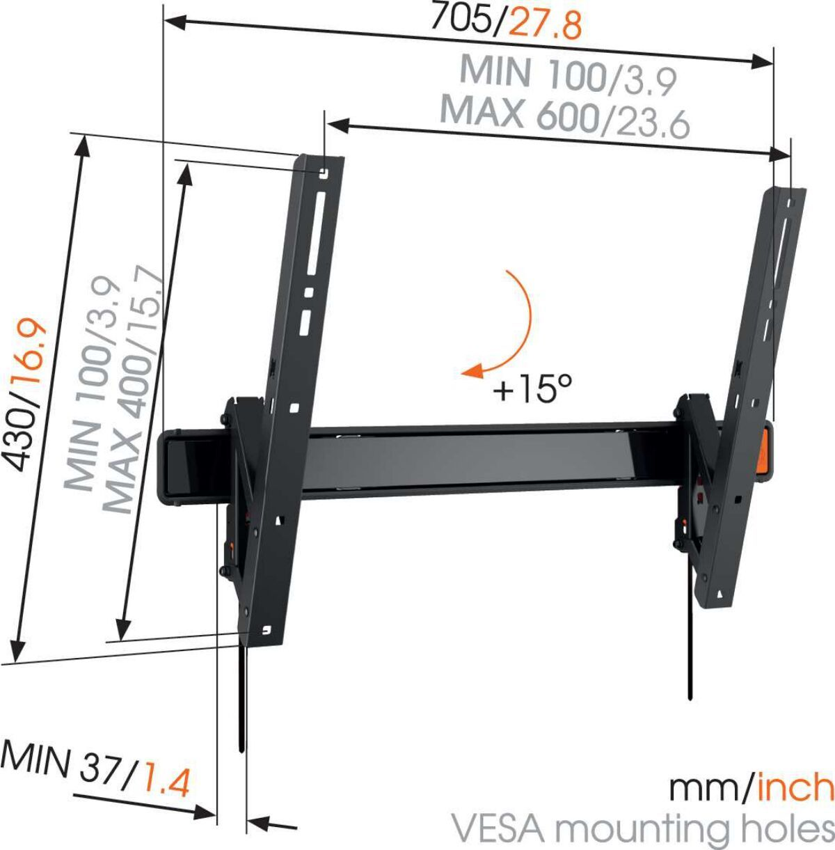 Vogel's W50810 Tilting TV Wall Mount - Suitable for 40 up to 65 inch TVs up to 40 kg - Tilt up to 15° - Dimensions