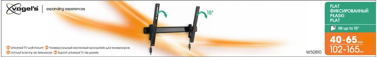 Vogel's W50810 Tilting TV Wall Mount - Suitable for 40 up to 65 inch TVs up to 40 kg - Tilt up to 15° - Packaging front