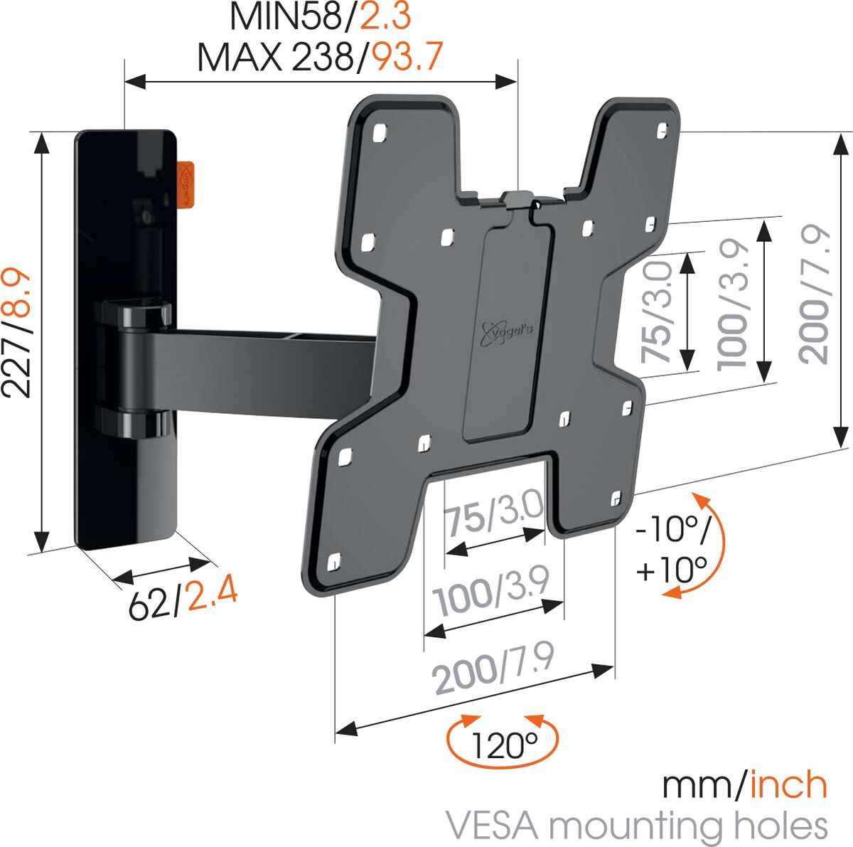 Vogel's W52060 Full-Motion TV Wall Mount (black) - Suitable for 19 up to 43 inch TVs - Motion (up to 120°) - Tilt -10°/+10° - Dimensions