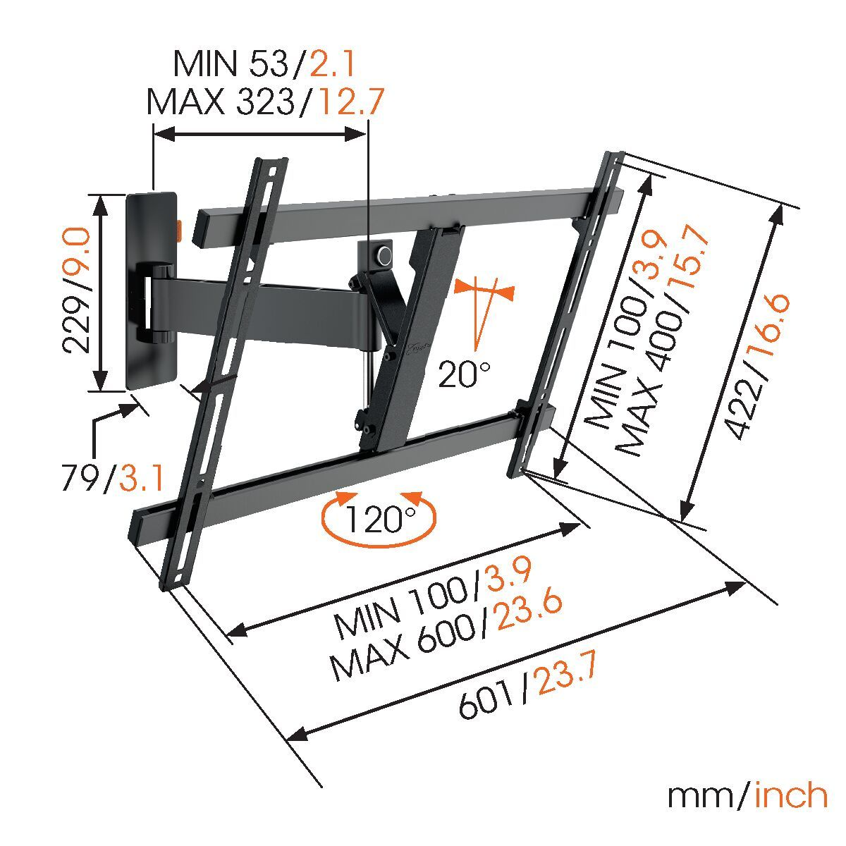 Vogel's W52080 Full-Motion TV Wall Mount (black) - Suitable for 40 up to 65 inch TVs - Motion (up to 120°) - Tilt up to 20° - Dimensions